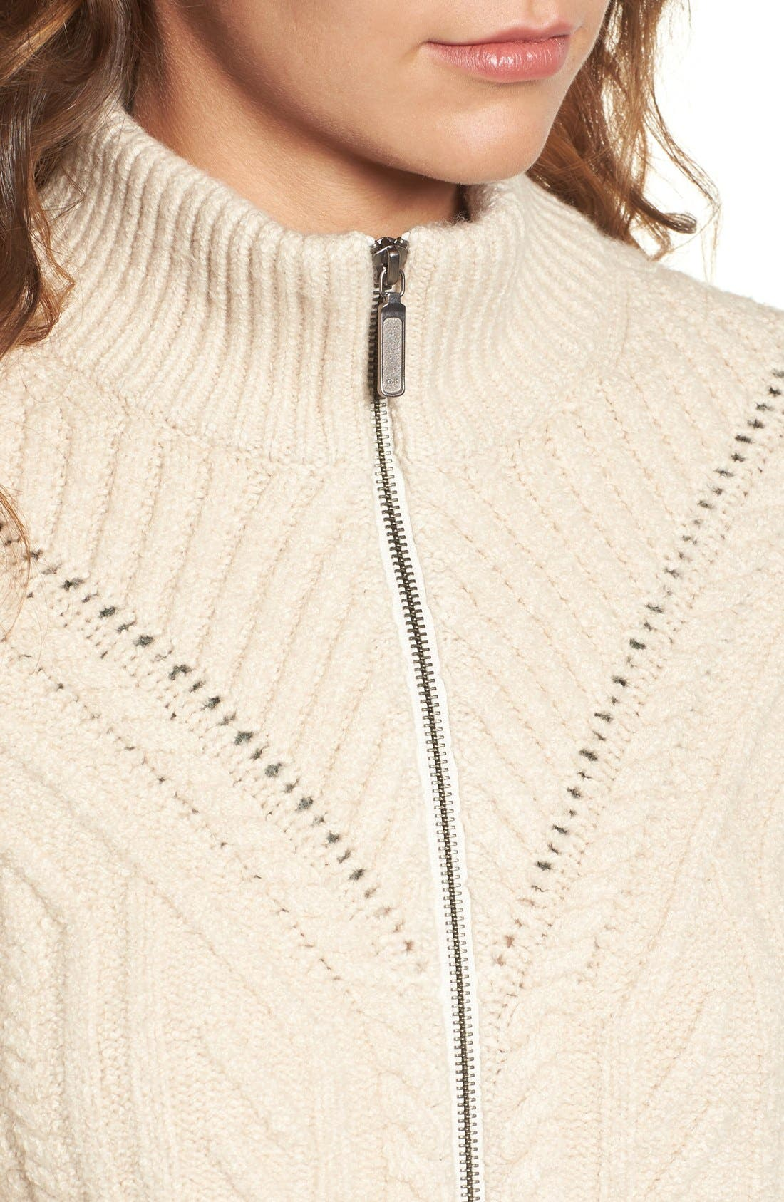 Alternate Image 5  - Hinge Cable Knit Zip Cardigan