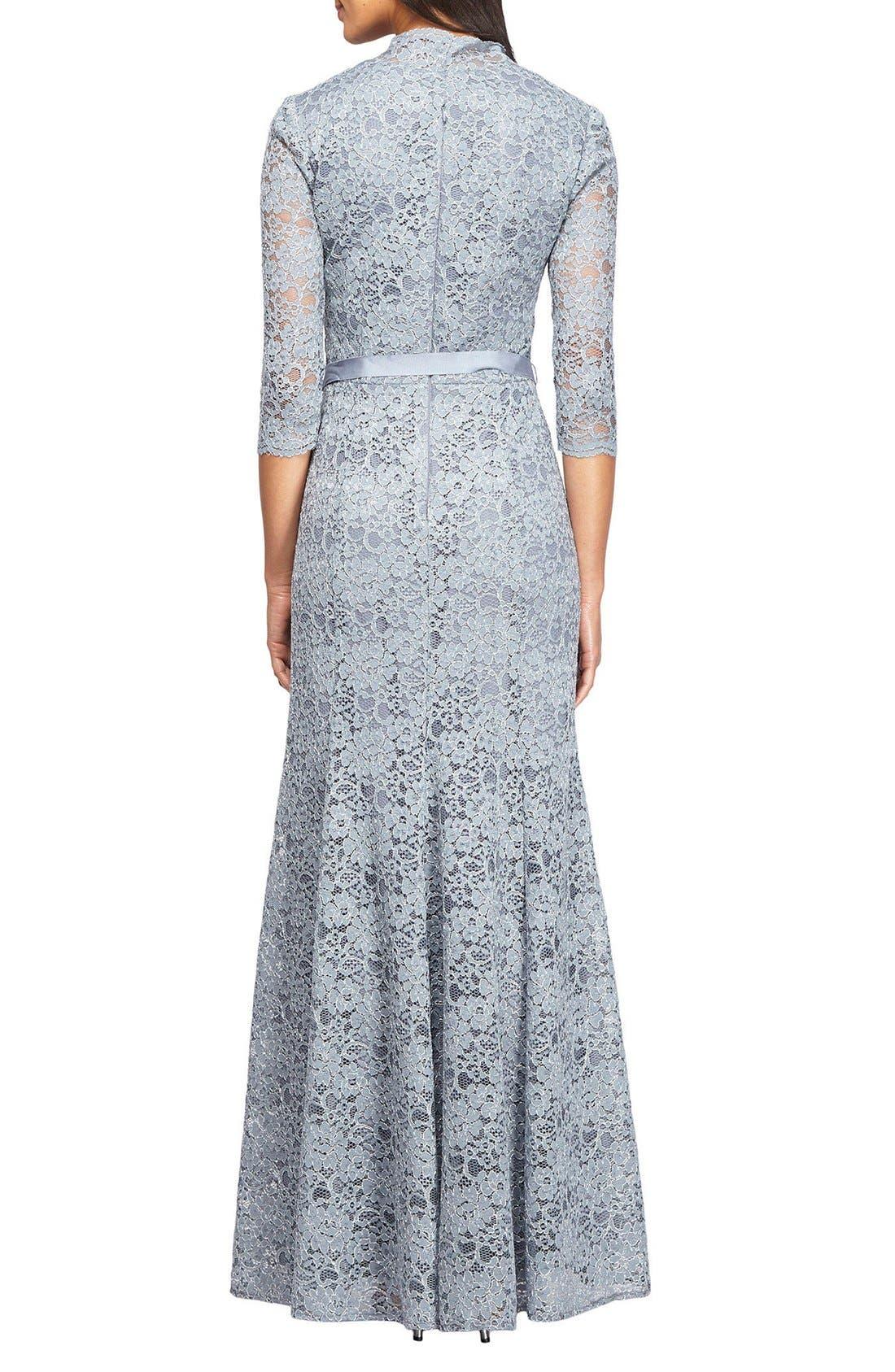 Alternate Image 2  - Alex Evenings Metallic Lace Fit & Flare Gown (Regular & Petite)