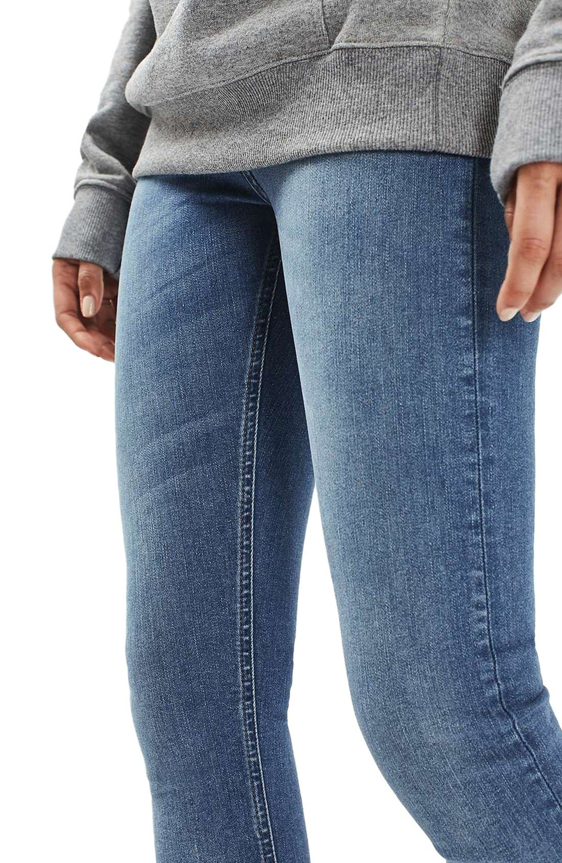 Alternate Image 3  - Topshop Jamie High Waist Crop Skinny Jeans (Blue Green)
