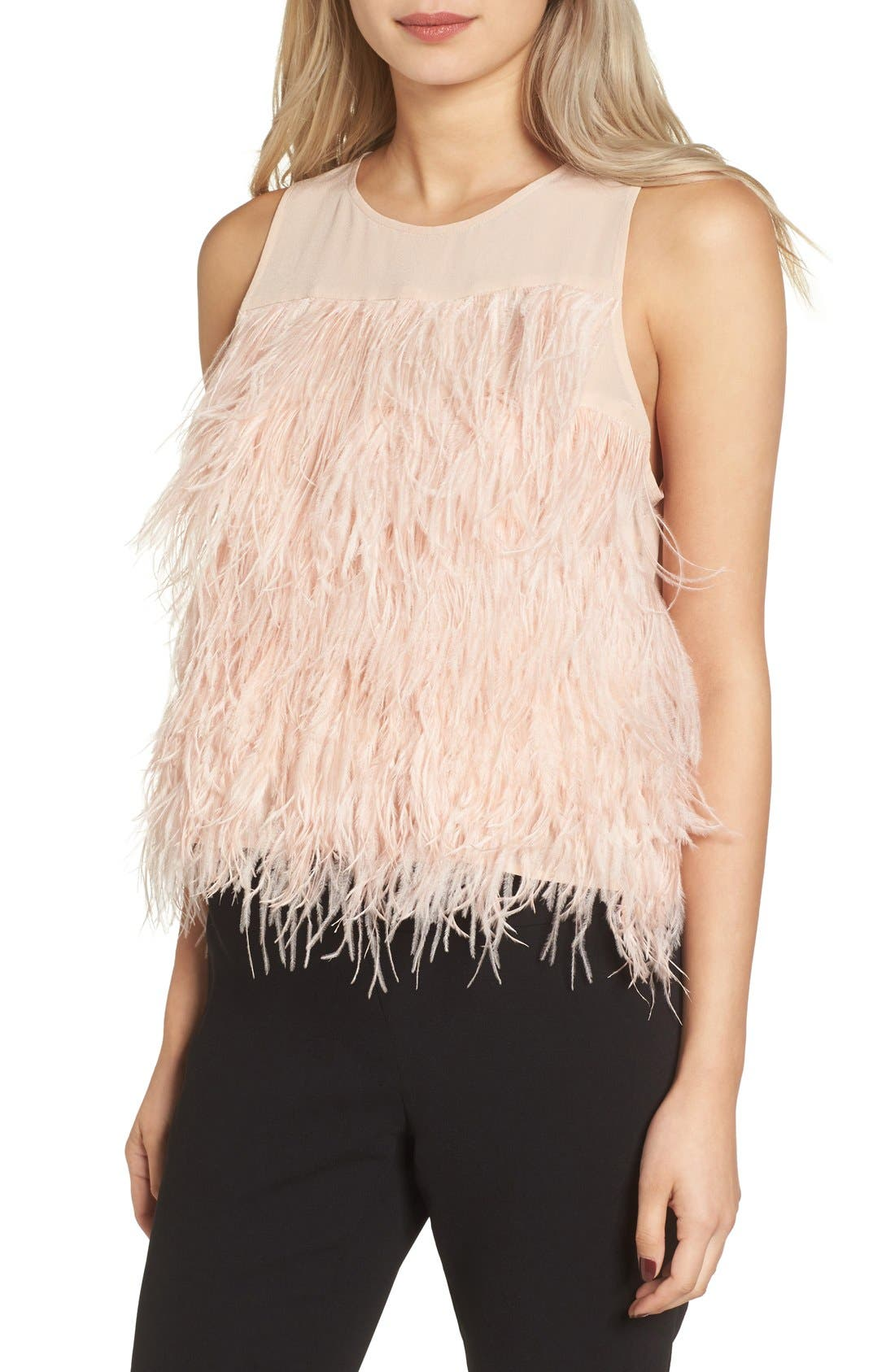 Main Image - Olivia Palermo + Chelsea28 Genuine Ostrich Feather Tank