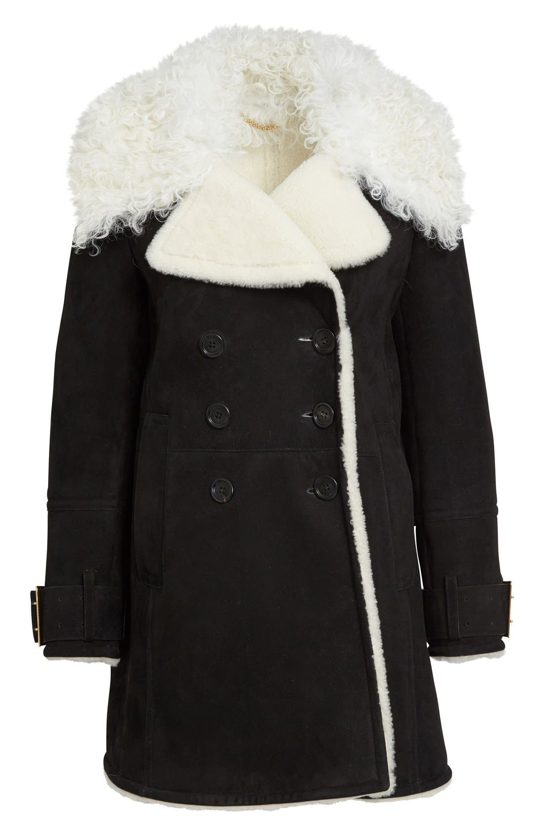 Alternate Image 4  - Burberry Norhurst Suede Coat with Genuine Shearling Trim