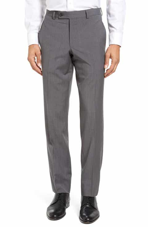 Ted Baker London Flat Front Check Wool Trousers