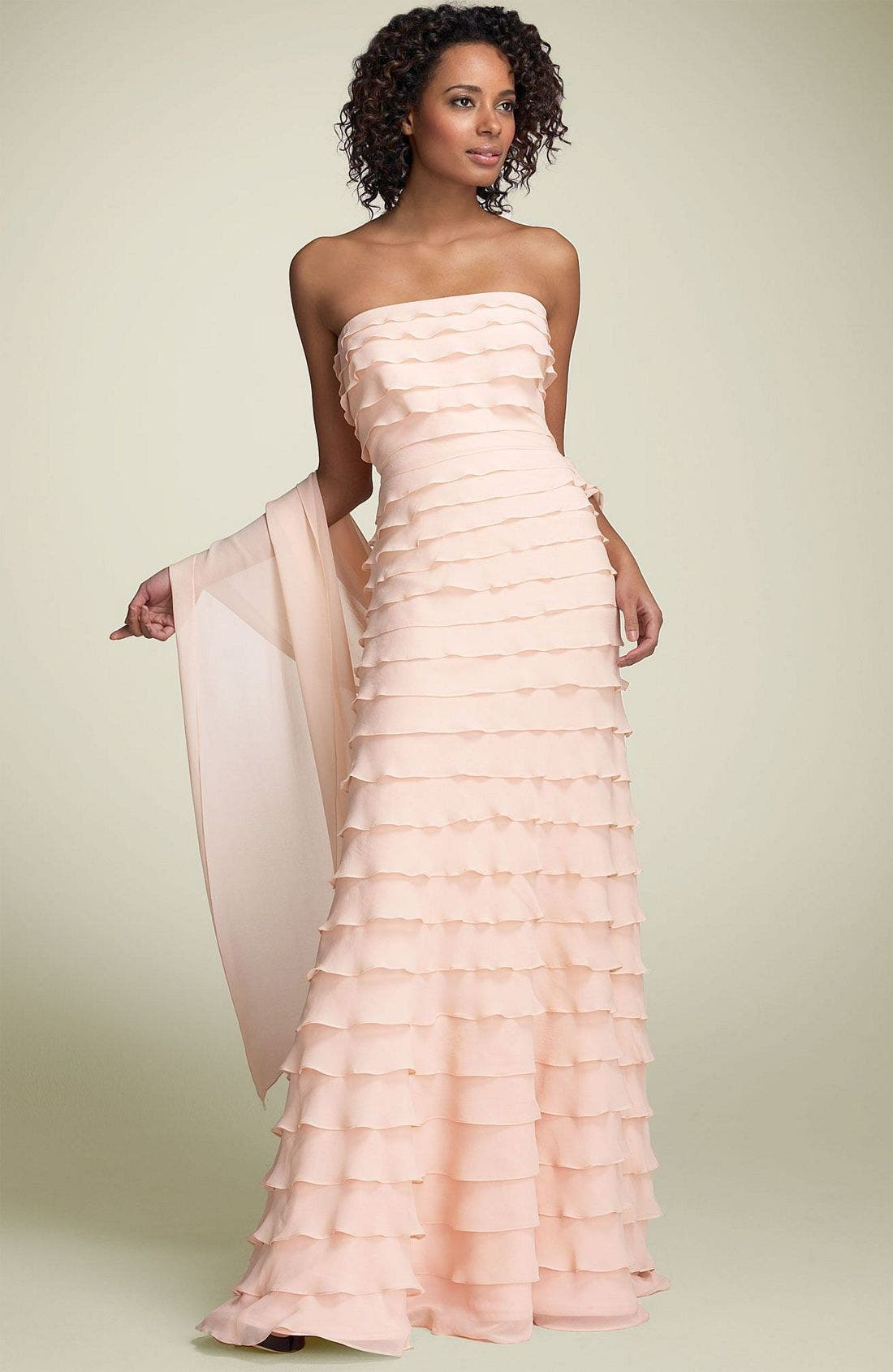 Main Image - Tadashi Tiered Ruffle Silk Gown