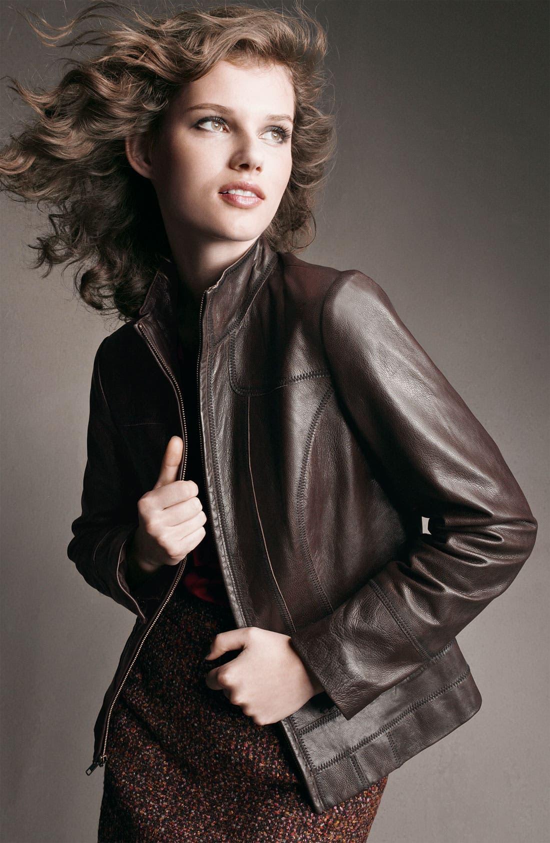 Alternate Image 3  - Caslon® Distressed Leather Jacket