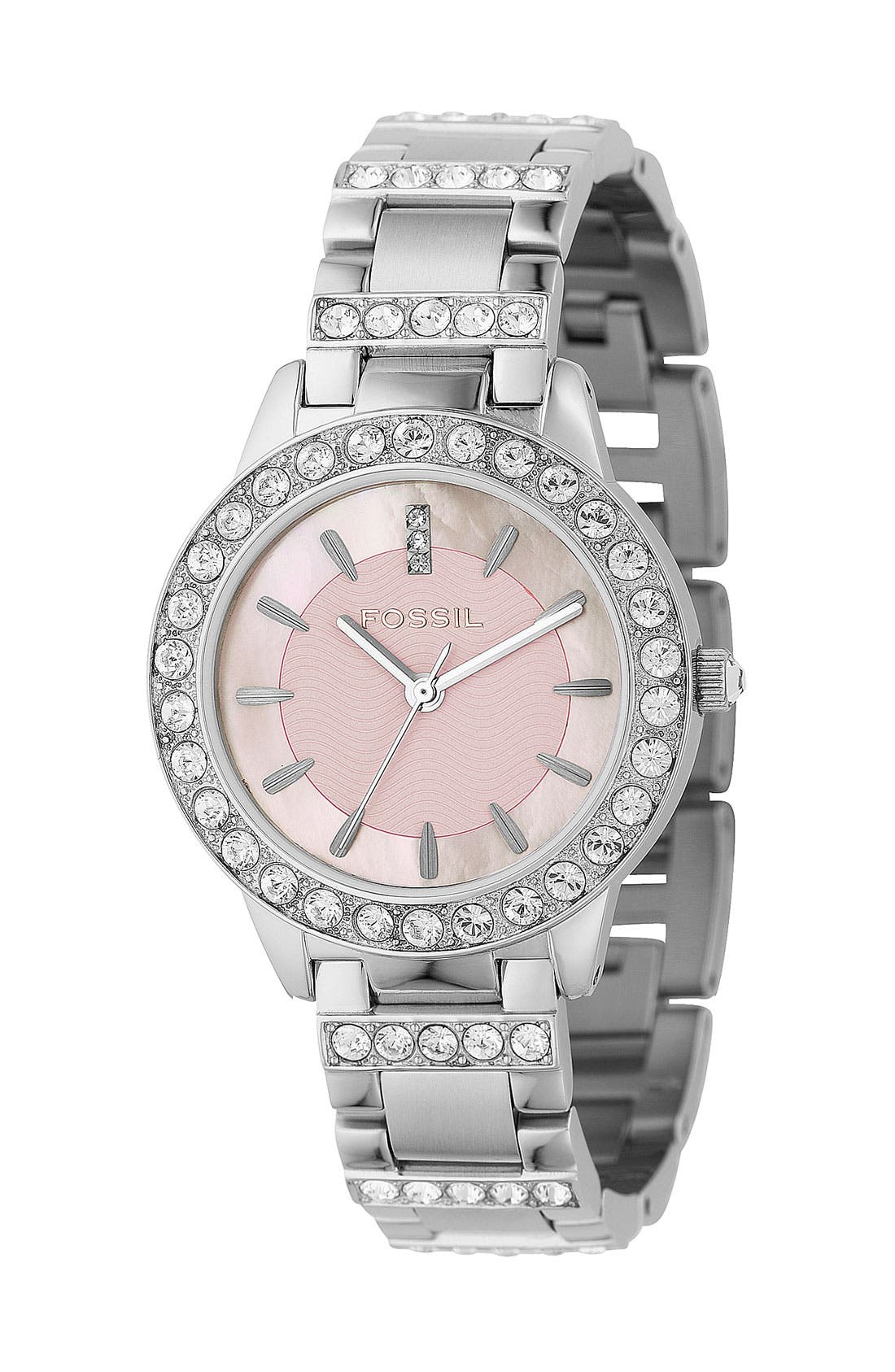 Alternate Image 1 Selected - Fossil 'Jesse' Crystal Embellished Bracelet Watch, 34mm