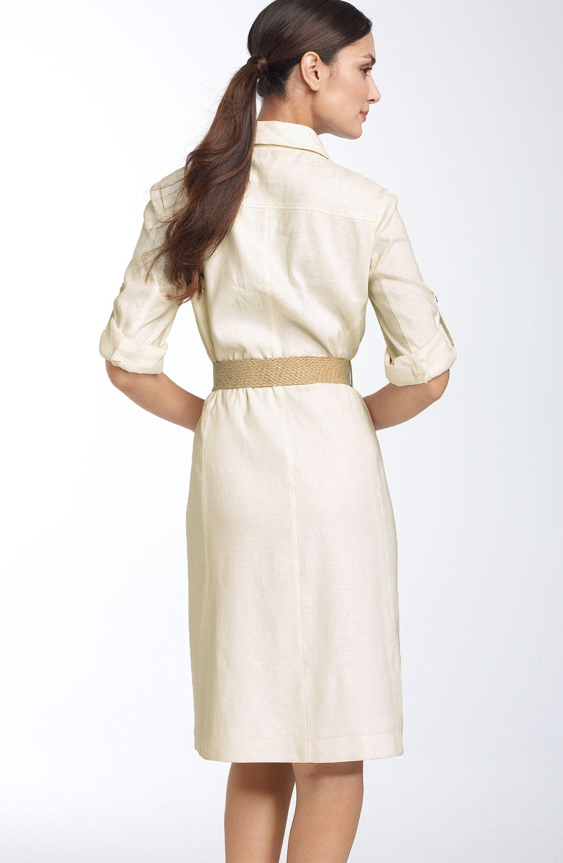 Alternate Image 2  - Tahari by Arthur S. Levine Belted Stretch Linen Shirtdress