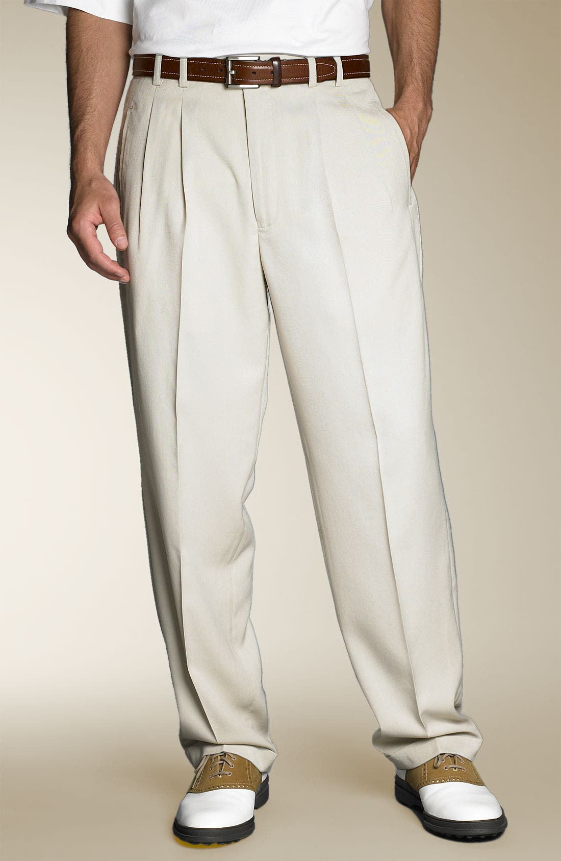 Main Image - Cutter & Buck Gabardine Pleated Microfiber Cuffed Trousers (Big & Tall)