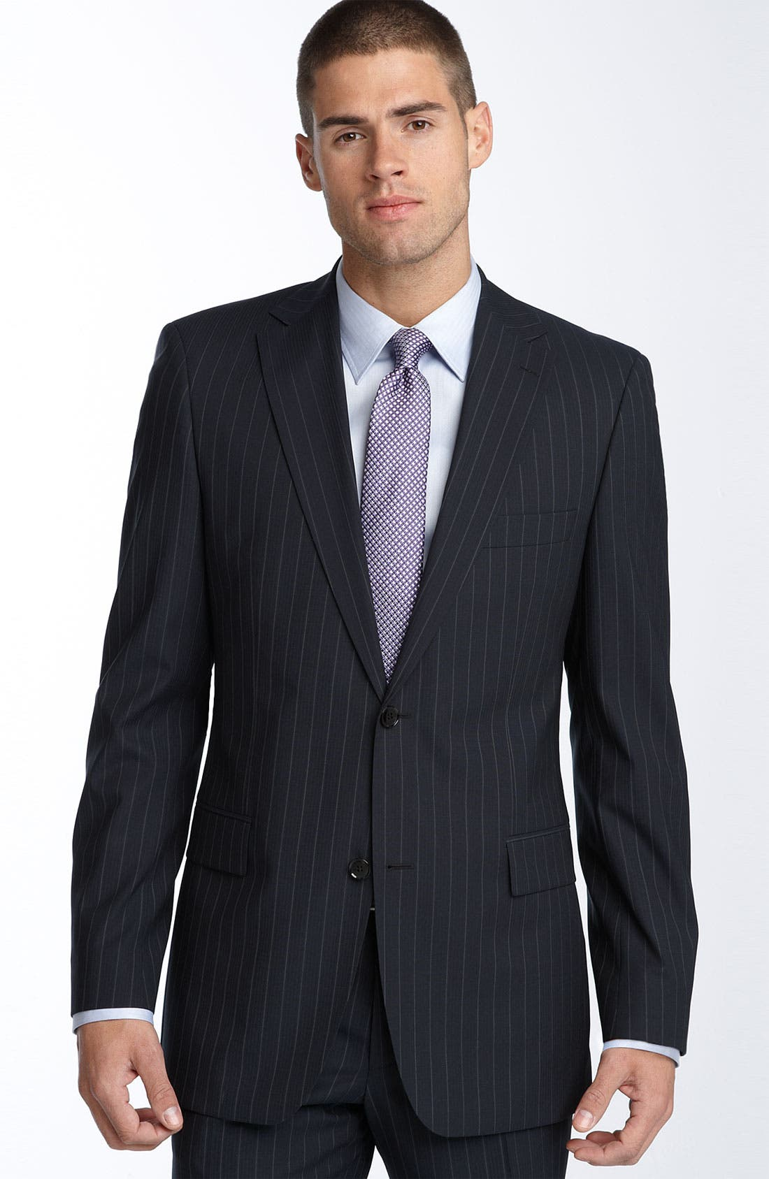 Alternate Image 1 Selected - BOSS Black Navy Stripe Wool Blend Suit