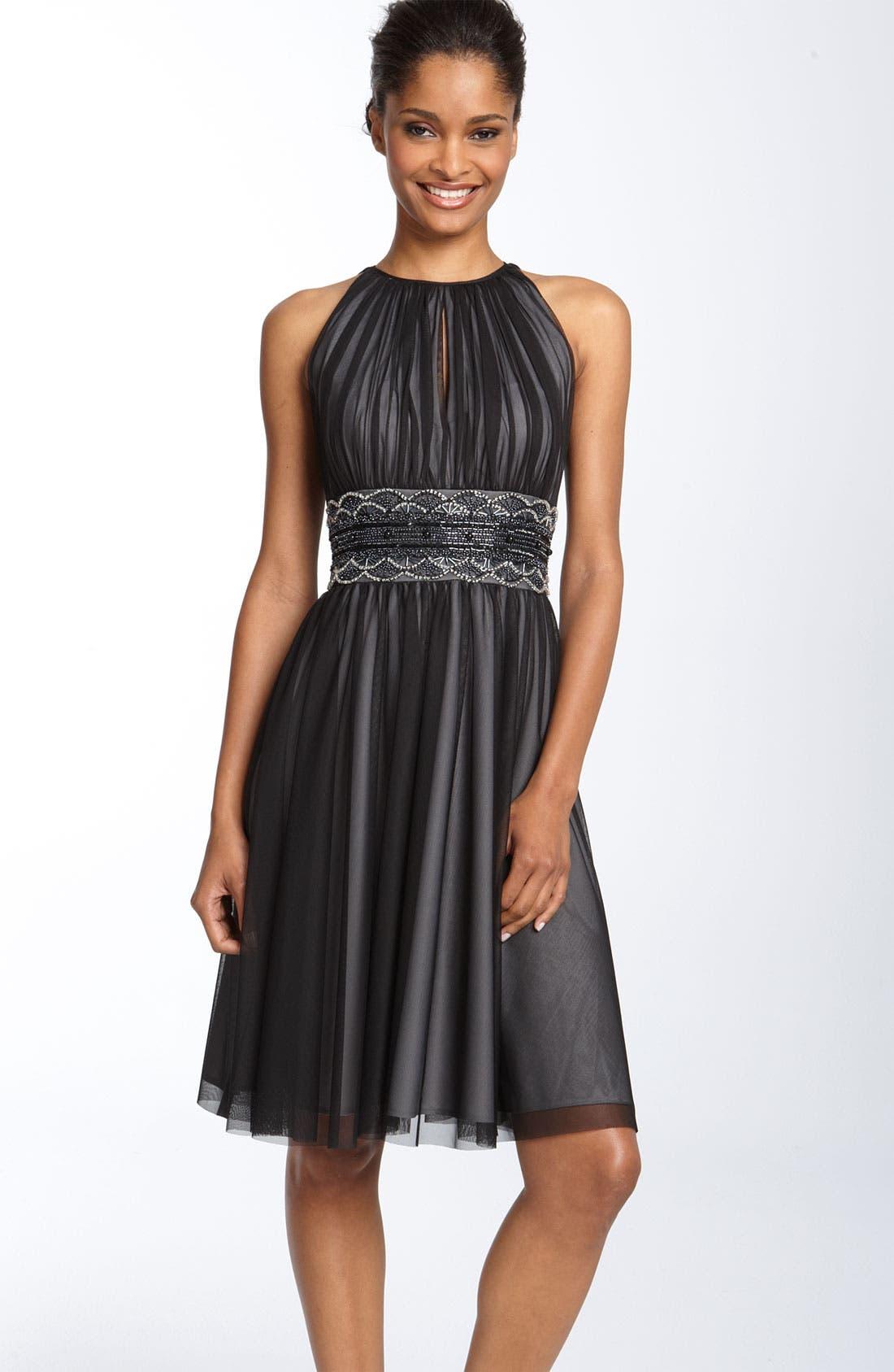 Alternate Image 1 Selected - JS Boutique Cutaway Shoulder Beaded Mesh Dress