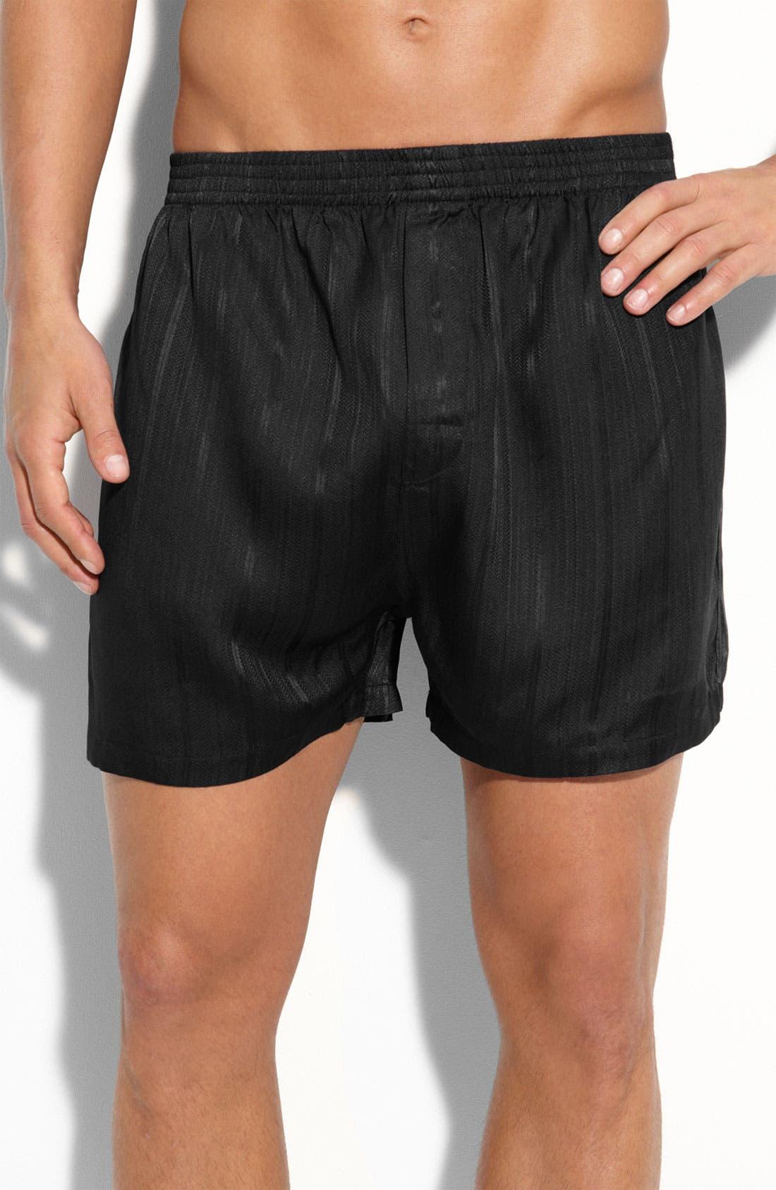 Main Image - Majestic International Herringbone Stripe Silk Boxer Shorts