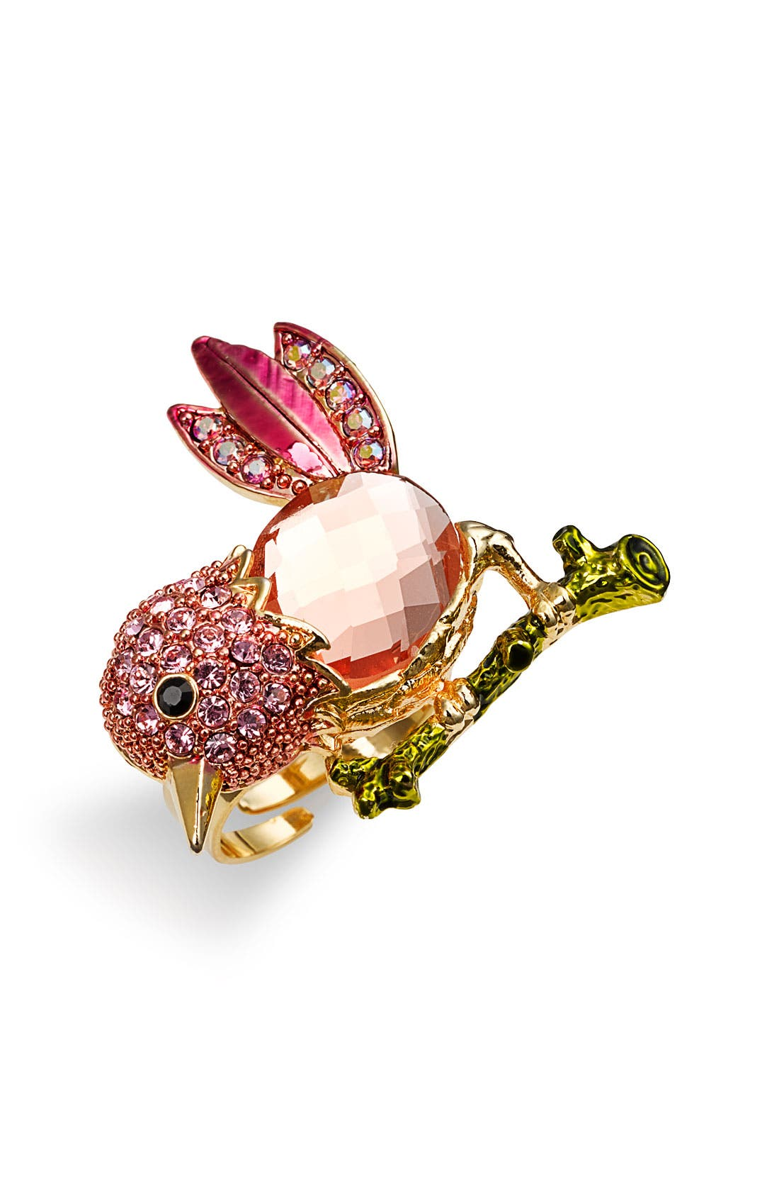 Alternate Image 1 Selected - Cara Accessories 'Critters' Hummingbird Crystal Stretch Ring