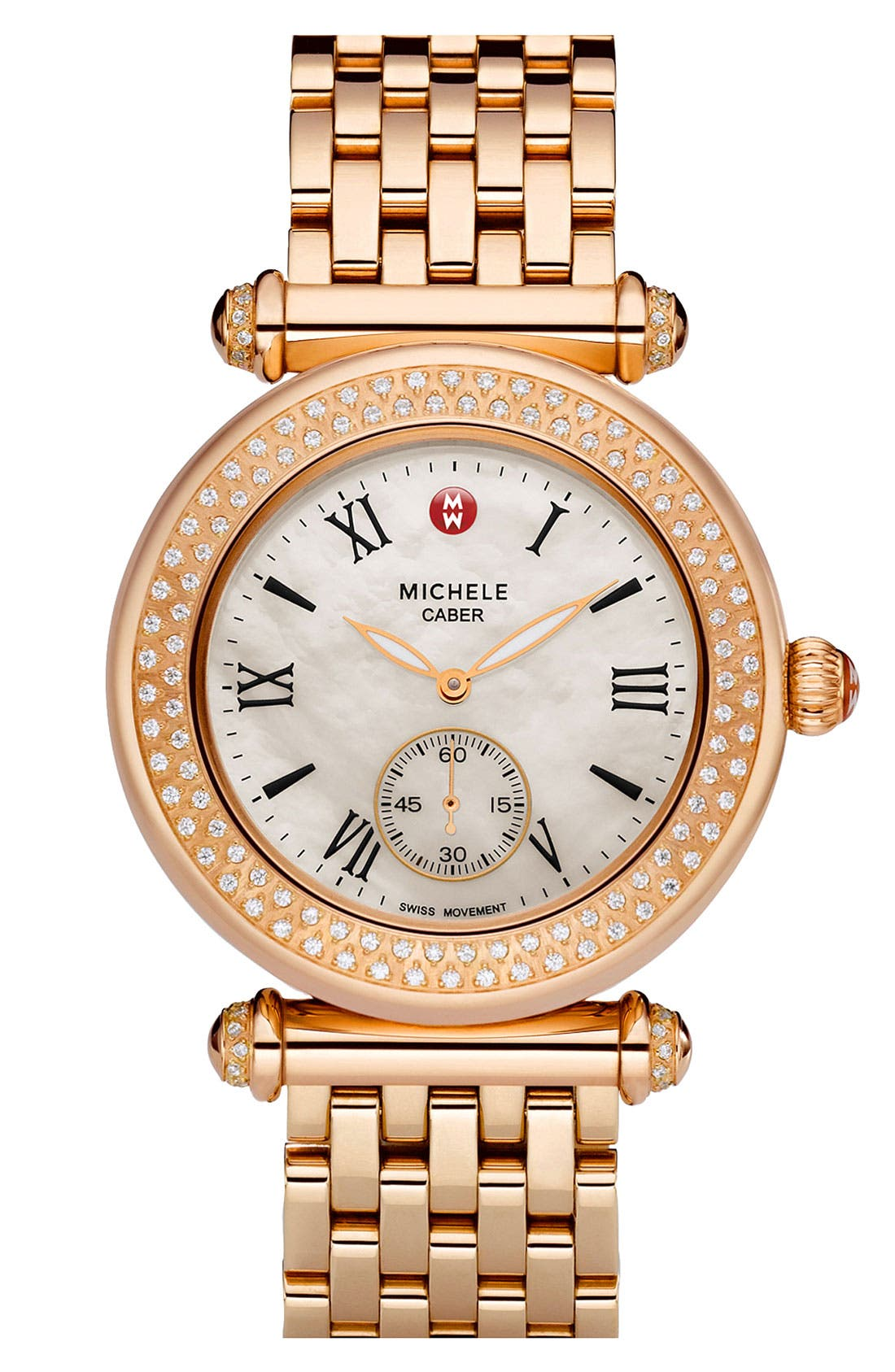 Alternate Image 2  - MICHELE 'Caber' Diamond Rose Gold Watch Case, 38mm