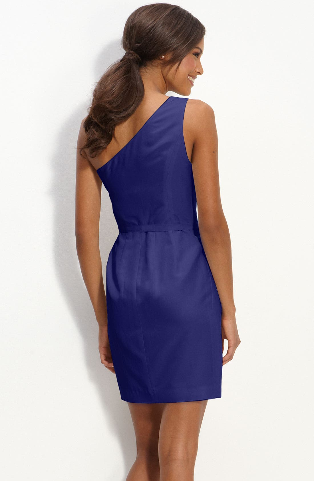 Alternate Image 2  - Glint One Shoulder Faille Dress