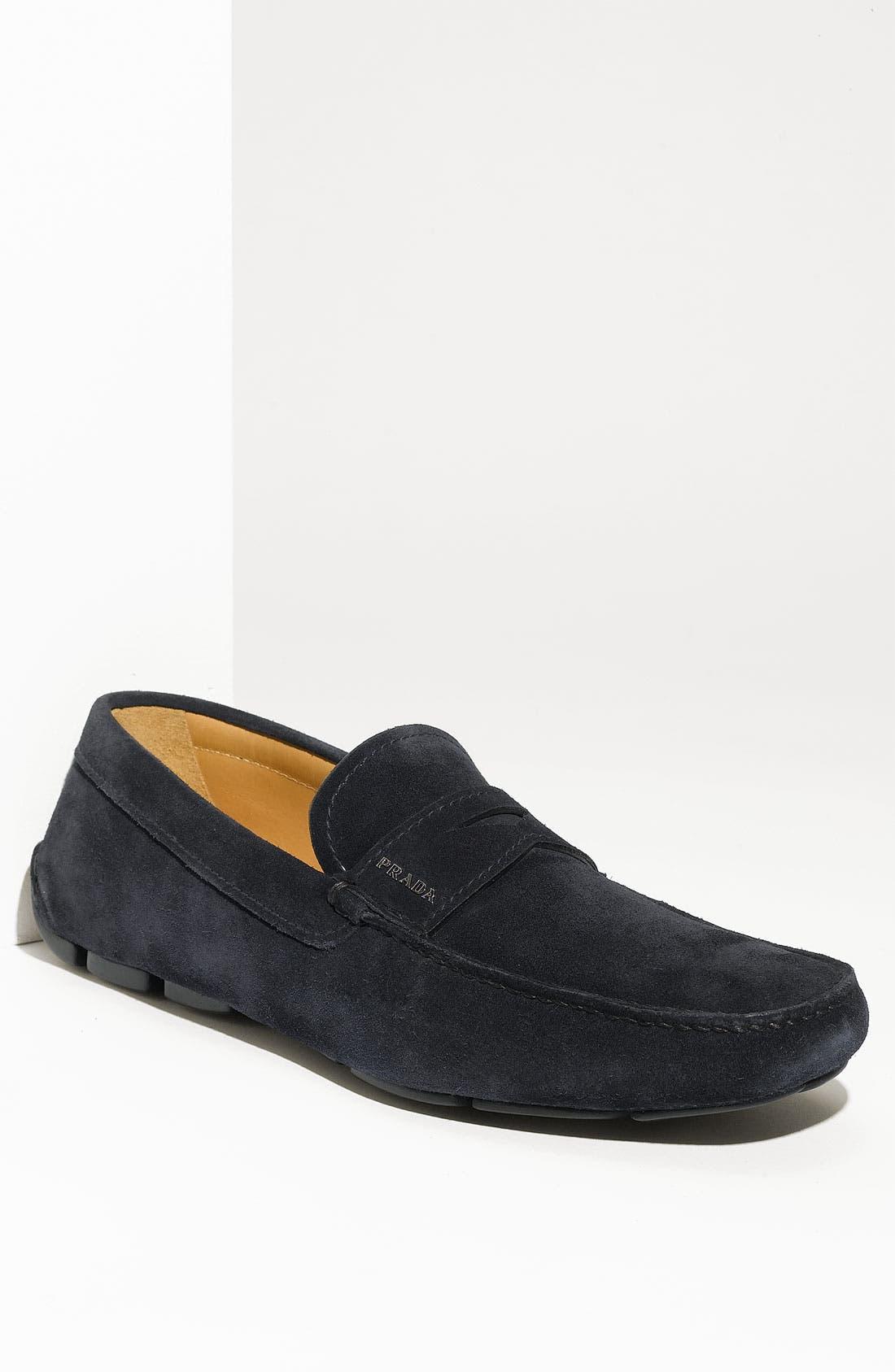 Alternate Image 1 Selected - Prada Suede Penny Driving Shoe (Men)