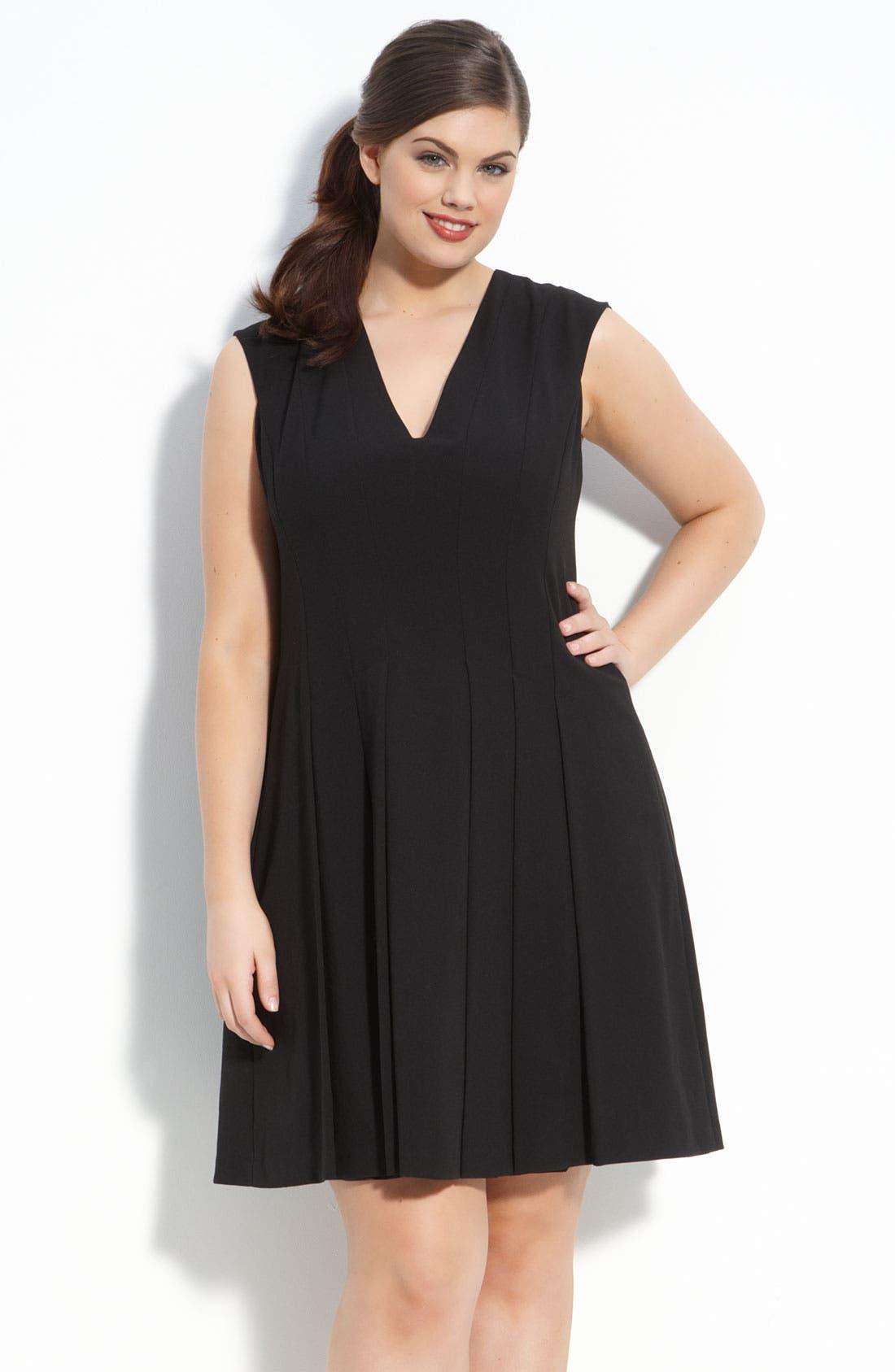 Alternate Image 1 Selected - Calvin Klein Sleeveless V-Neck Dress (Plus)