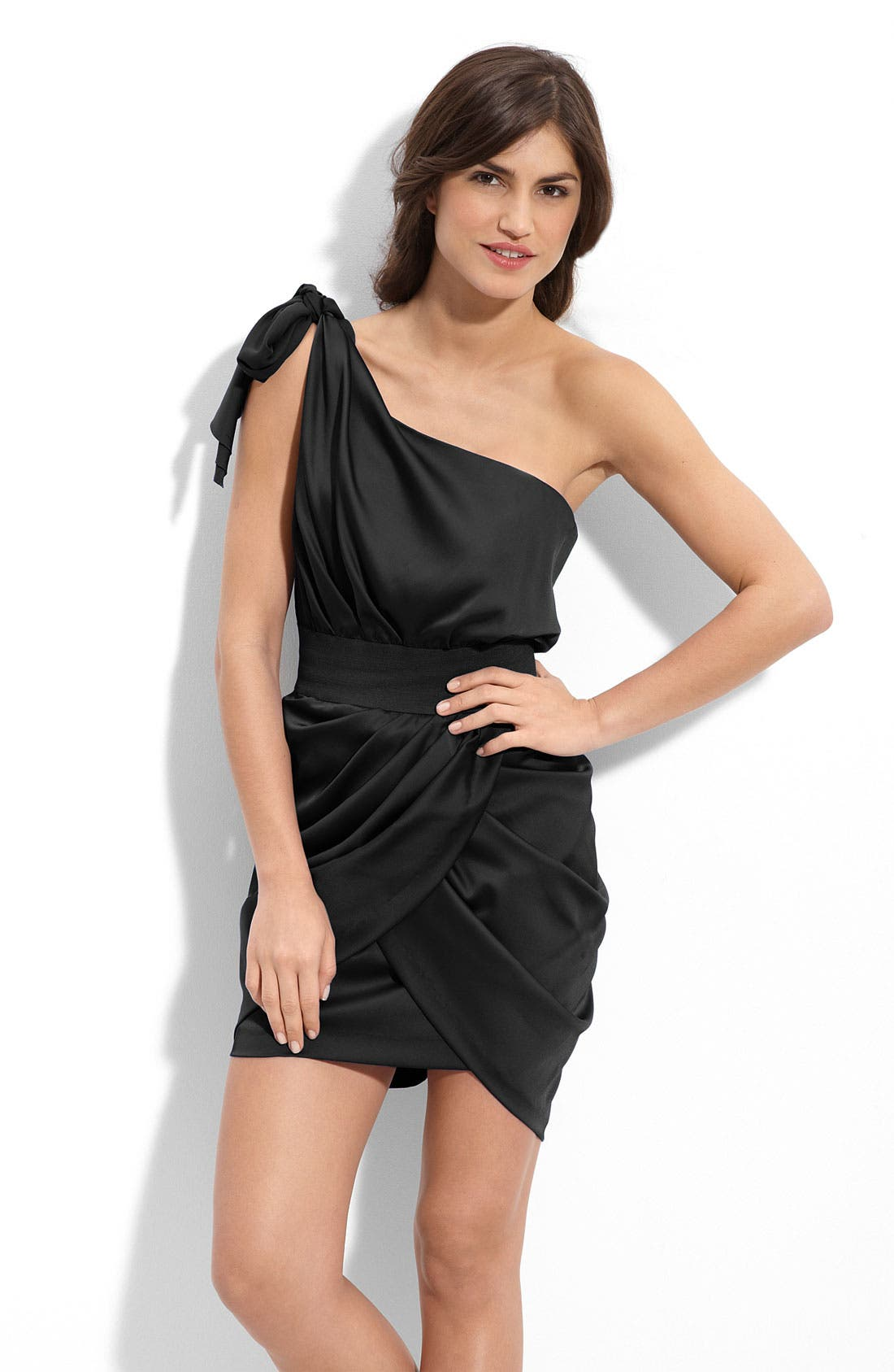 Main Image - Aidan by Aidan Mattox One Shoulder Faux Wrap Dress