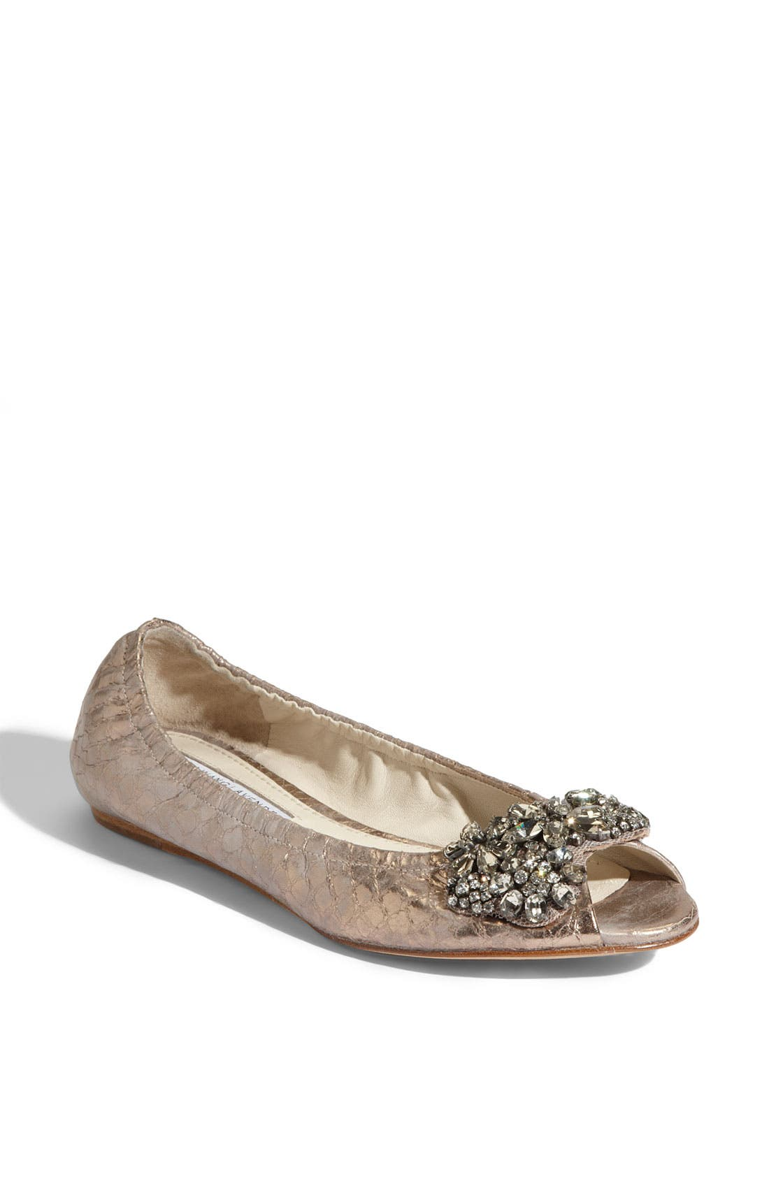Alternate Image 1 Selected - Vera Wang Lavender 'Luna' Snake Embossed Metallic Leather Flat