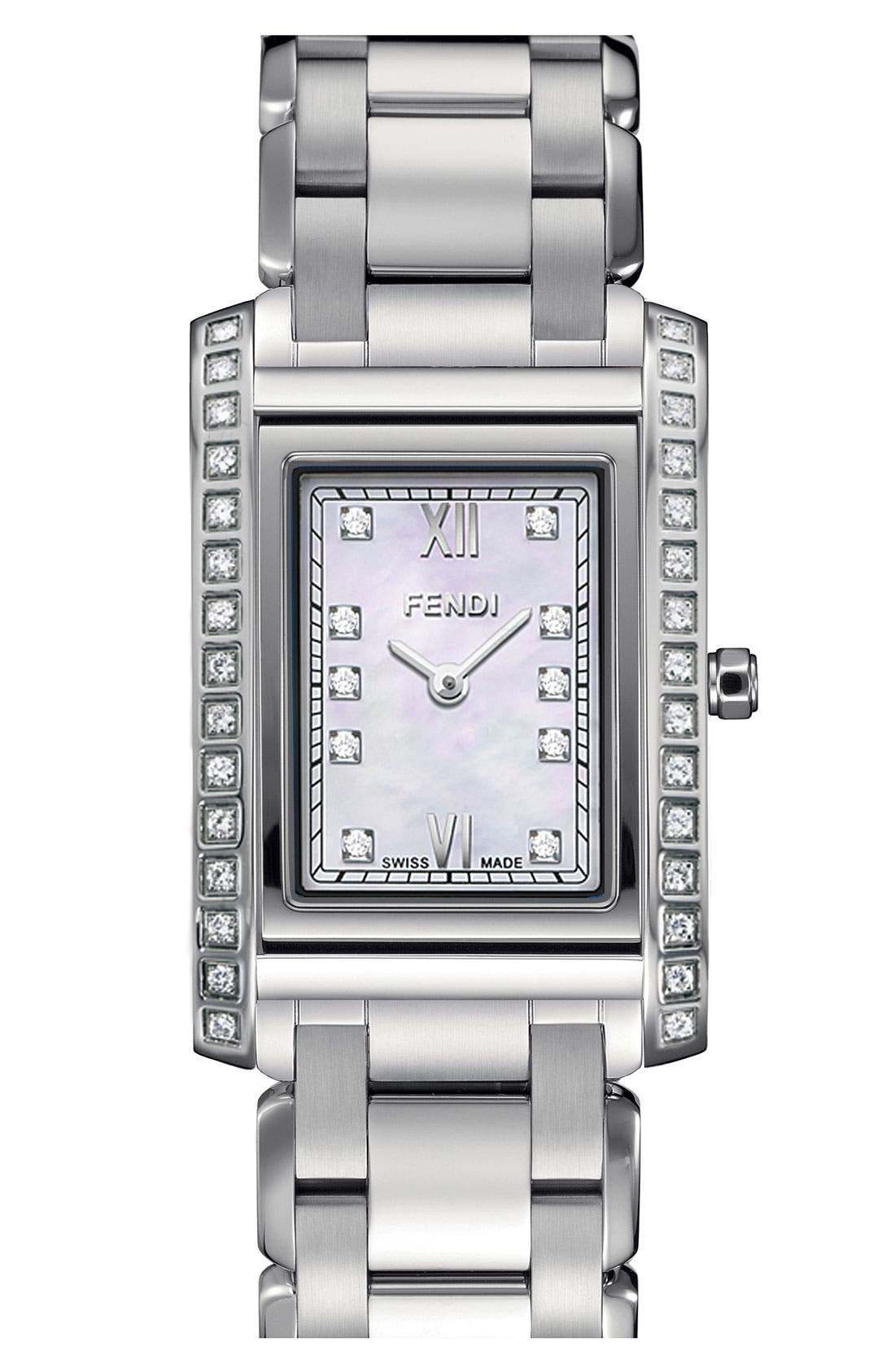 Alternate Image 1 Selected - Fendi 'Loop - Medium' Diamond Bracelet Watch, 27mm x 40mm