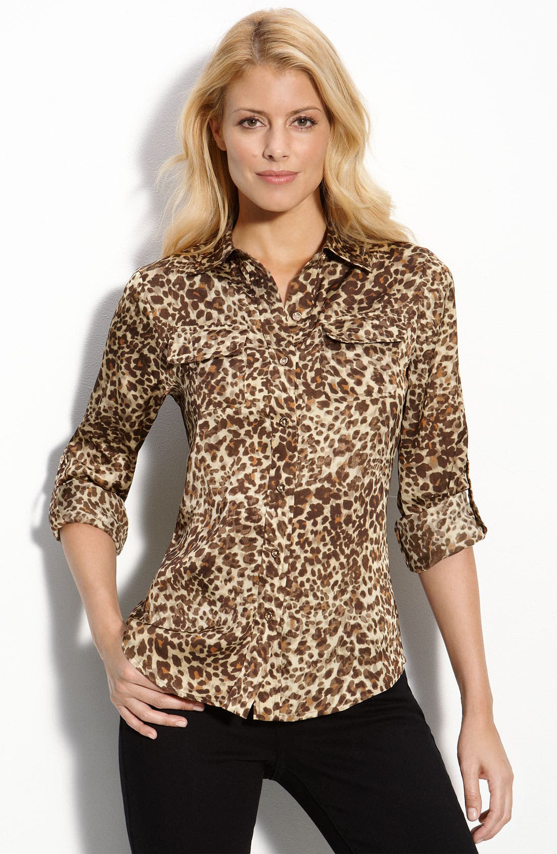 Alternate Image 1 Selected - AK Anne Klein Tab Sleeve Animal Print Shirt