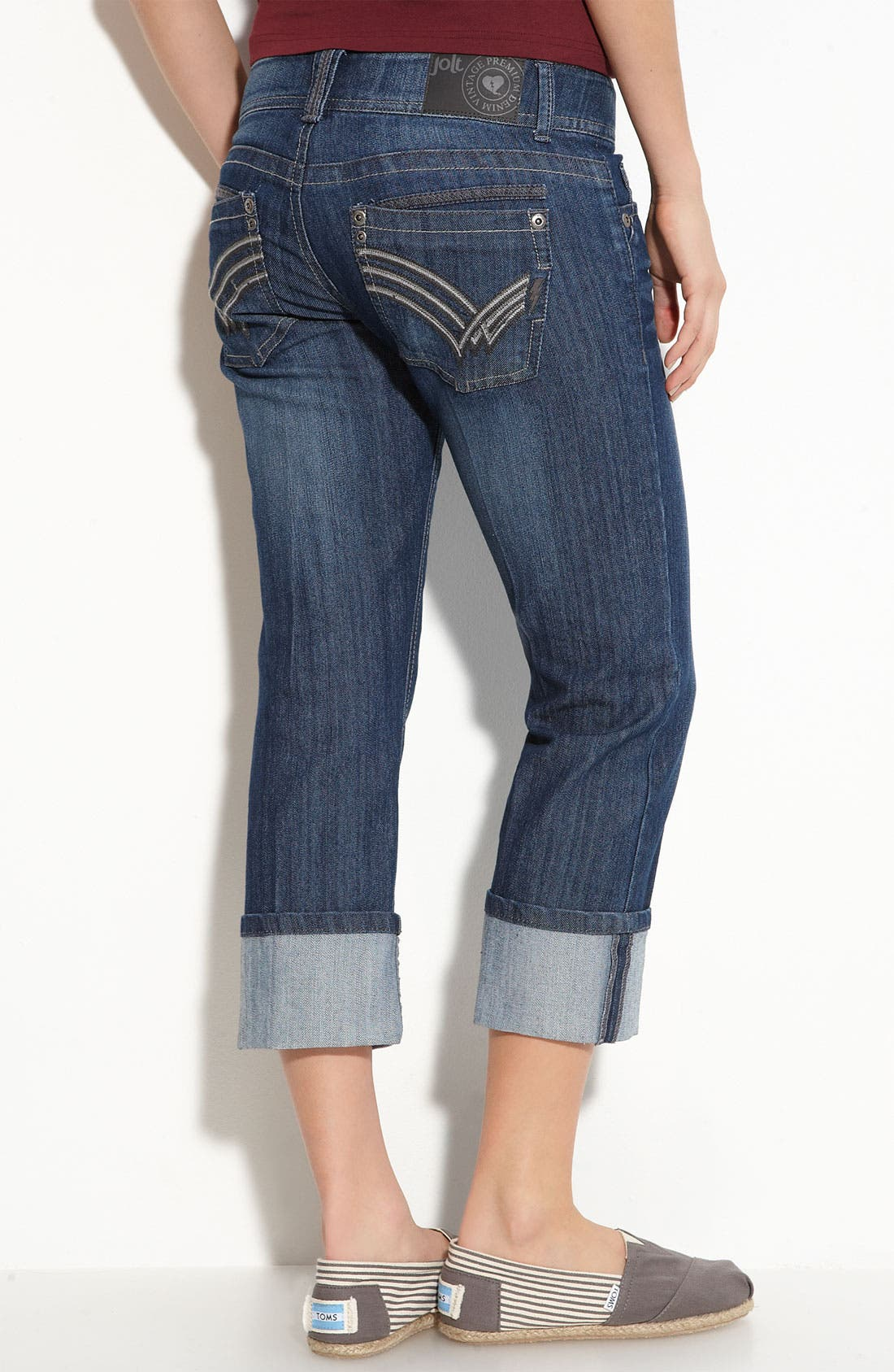 Main Image - Jolt Roll Cuff Crop Jeans (Medium Wash) (Juniors)