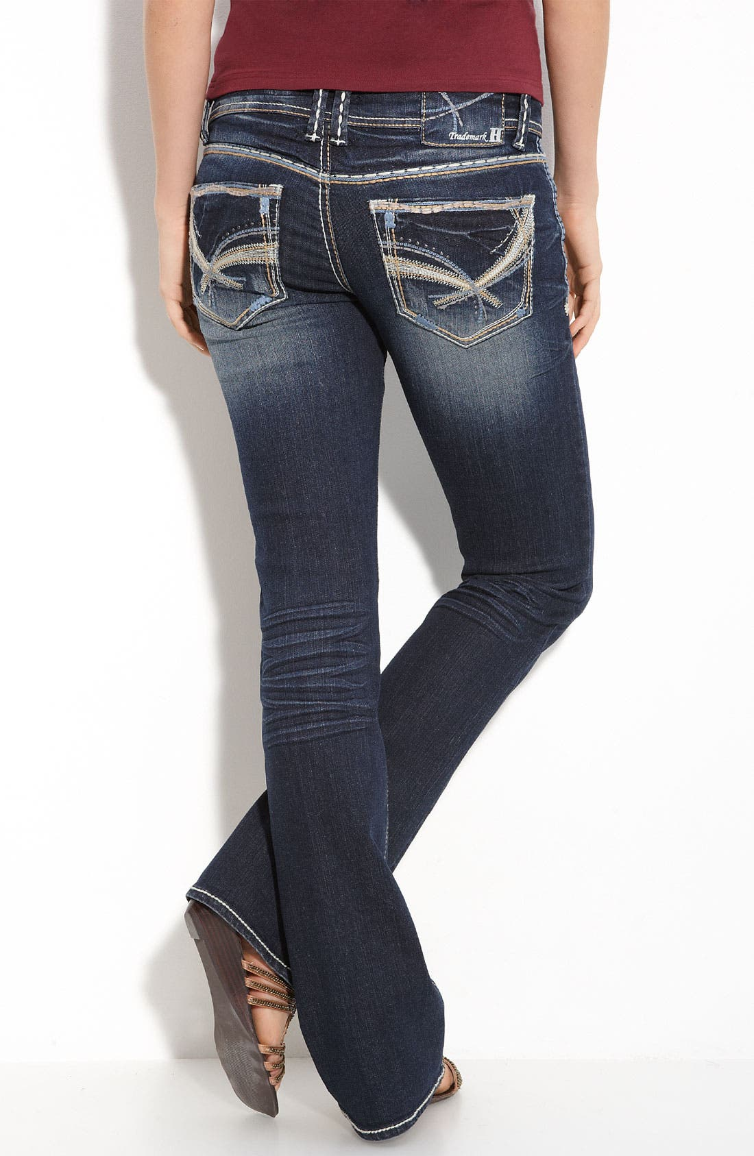 Alternate Image 1 Selected - Trademark H Slim Bootcut Jeans (Blue Wash) (Juniors)