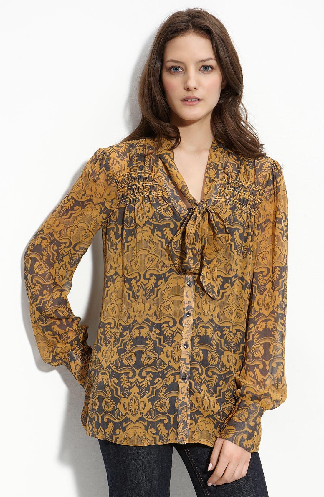 Hinge® Smocked Front Silk Blouse