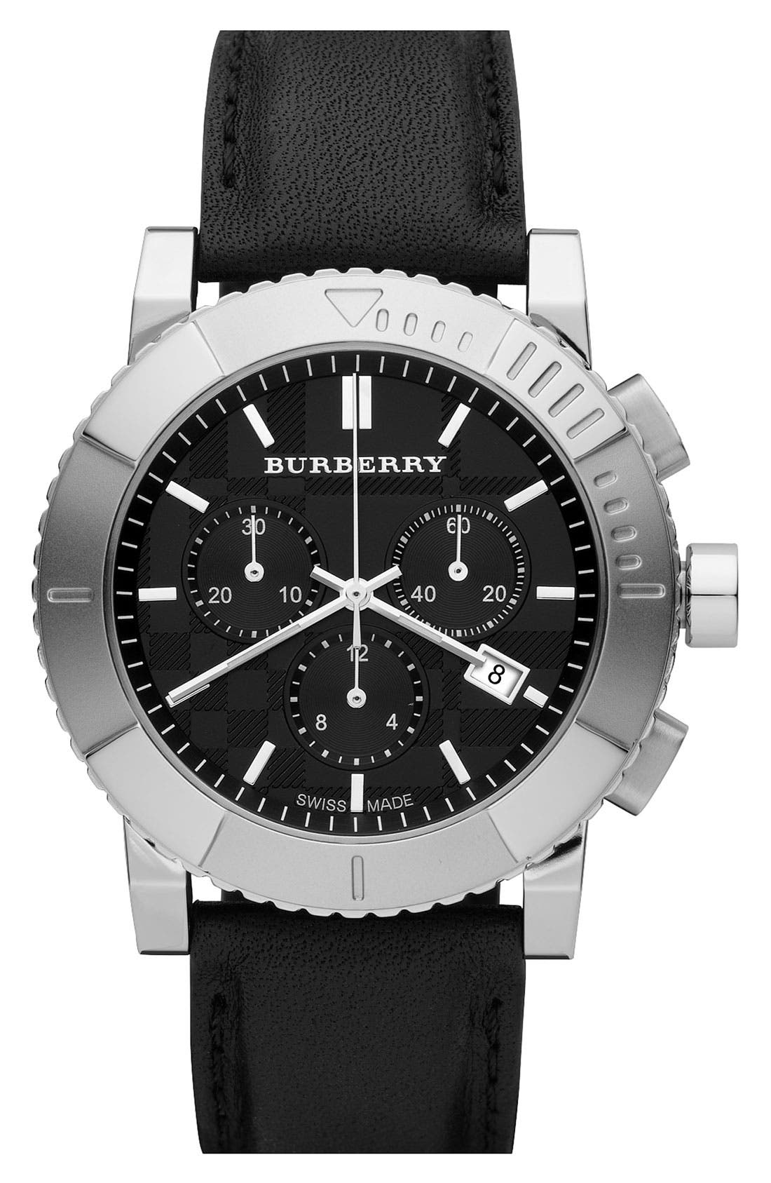 Main Image - Burberry Round Chronograph Leather Strap Watch