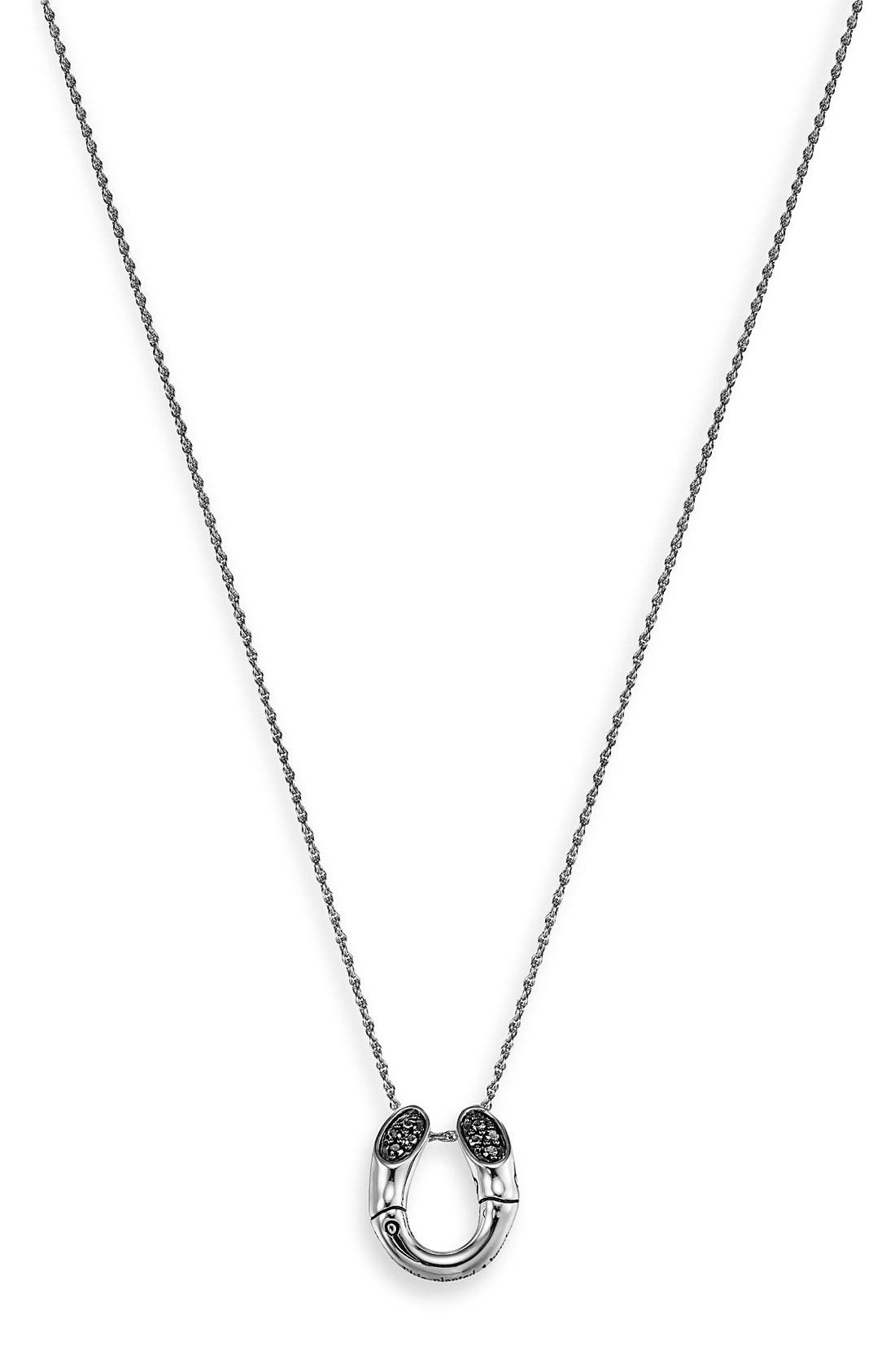 Main Image - John Hardy 'Bamboo Lava' Horseshoe Pendant Necklace