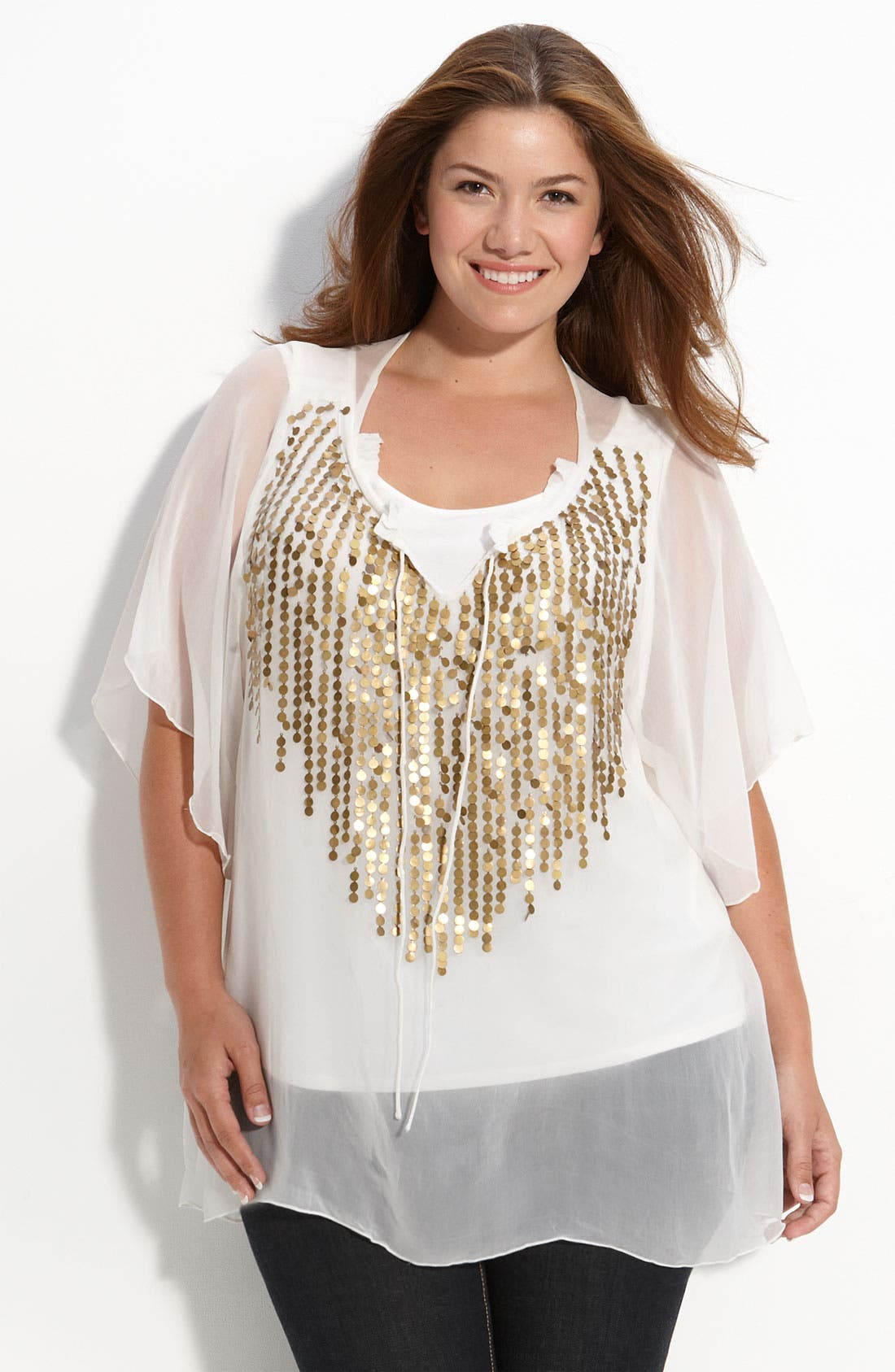 Main Image - Tbags Embellished Sheer Top (Plus)