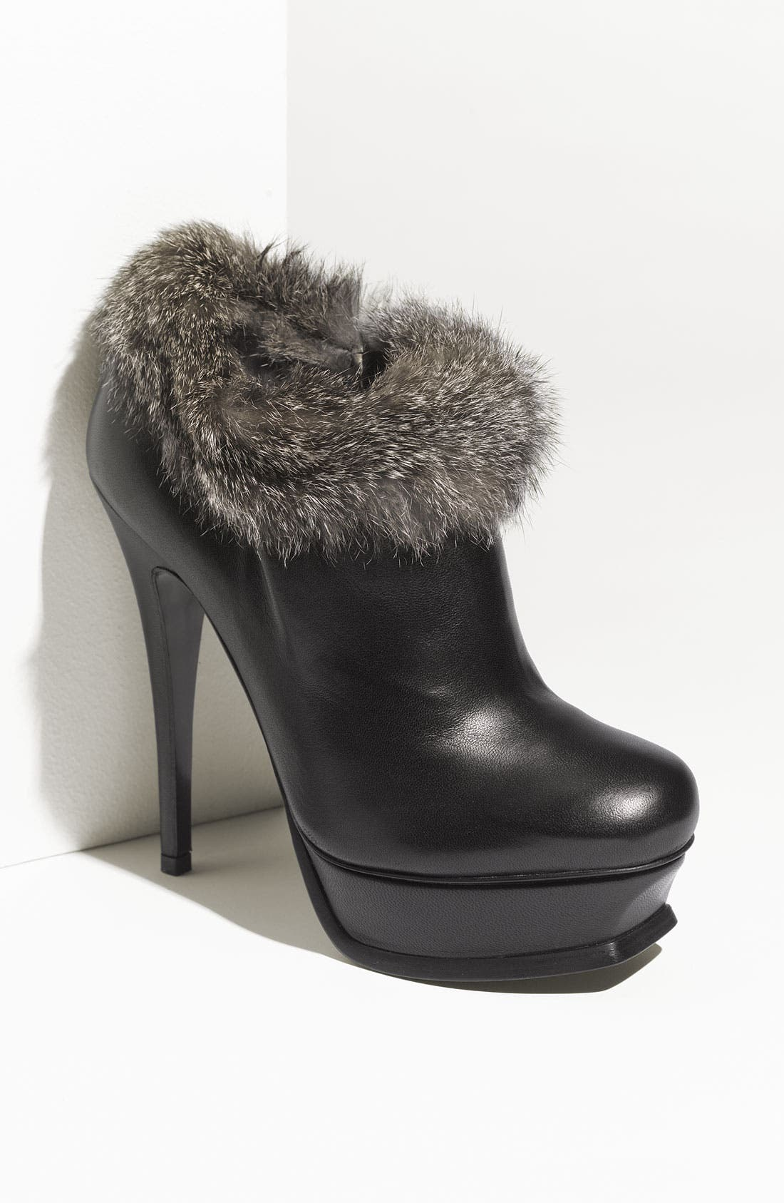 Main Image - Yves Saint Laurent 'Tribute' Genuine Rabbit Fur Trim Leather Bootie