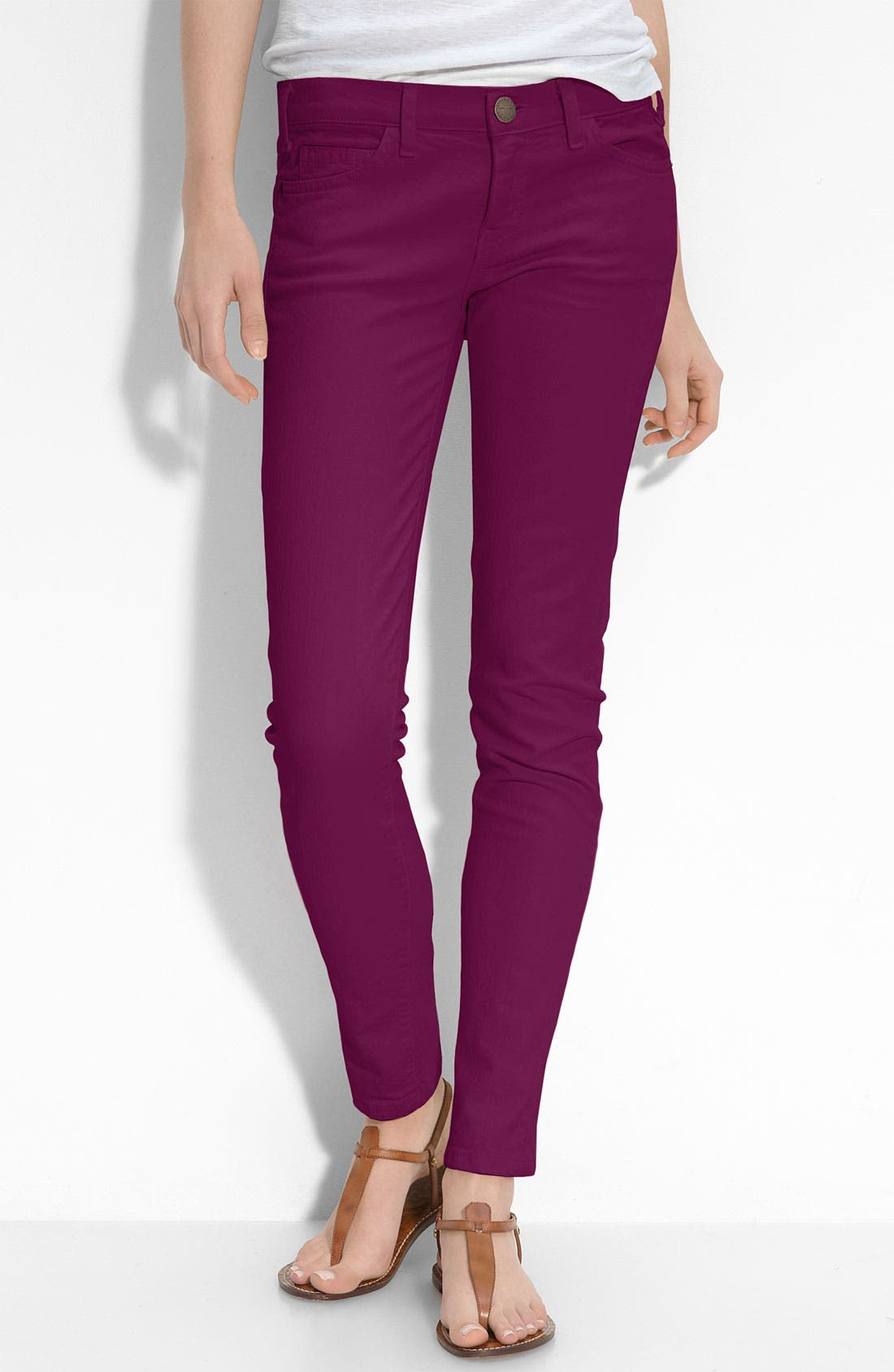 Alternate Image 1 Selected - Current/Elliott Skinny Stretch Ankle Jeans (Purple Wash)