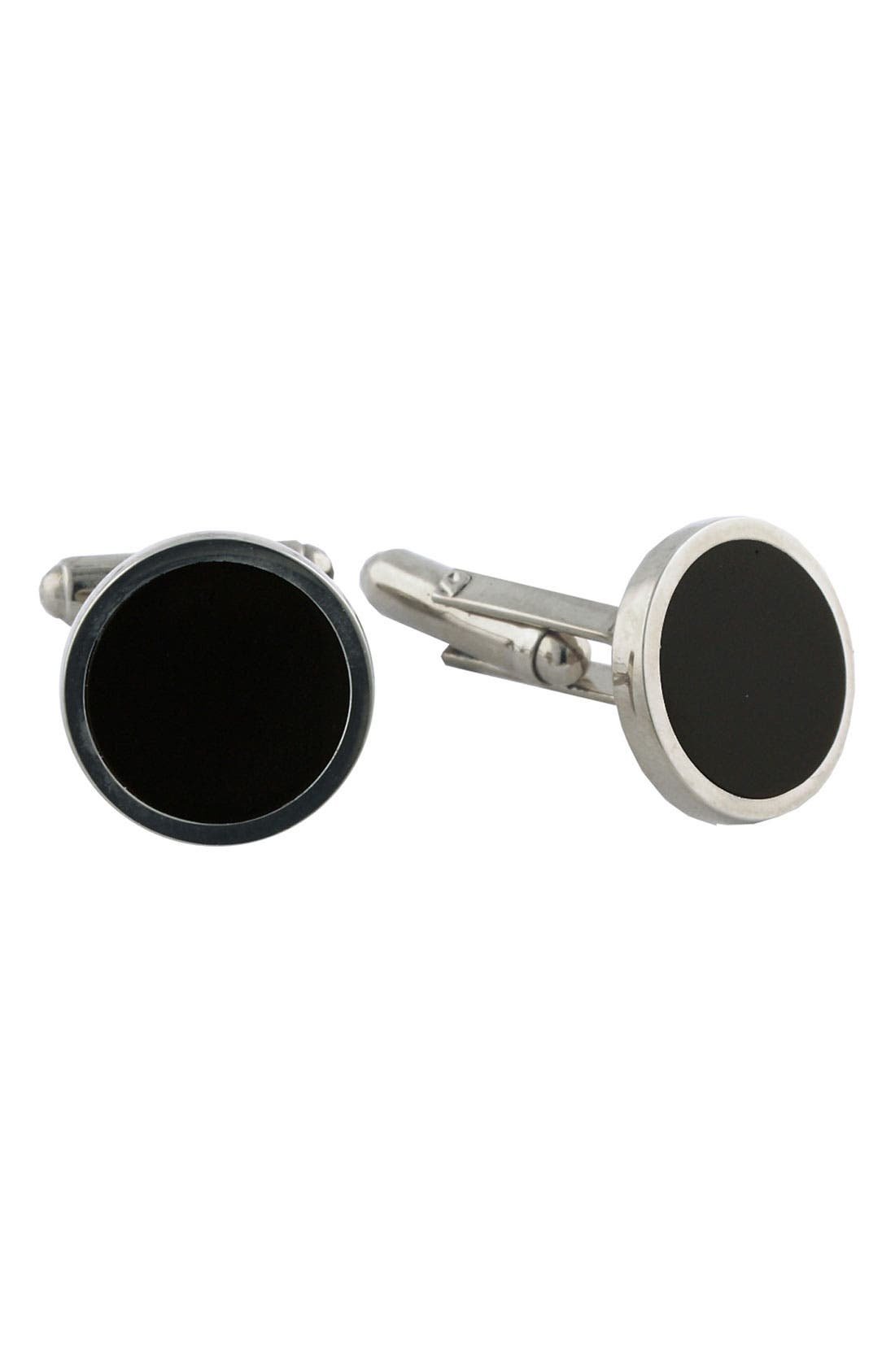 Alternate Image 1 Selected - David Donahue Sterling Silver & Onyx Cuff Links
