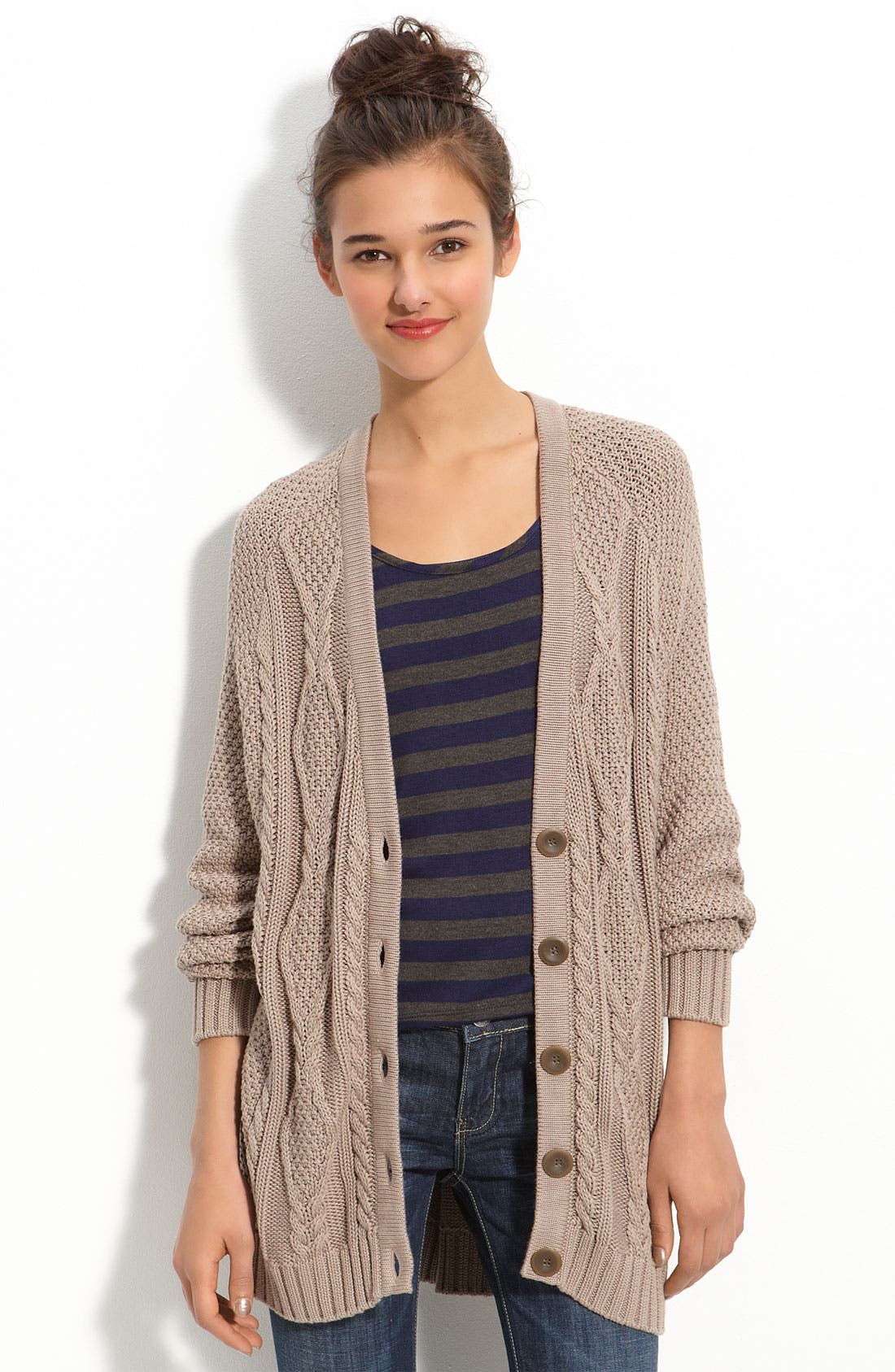 Main Image - Rubbish® Cabled Slouchy Cardigan (Juniors)