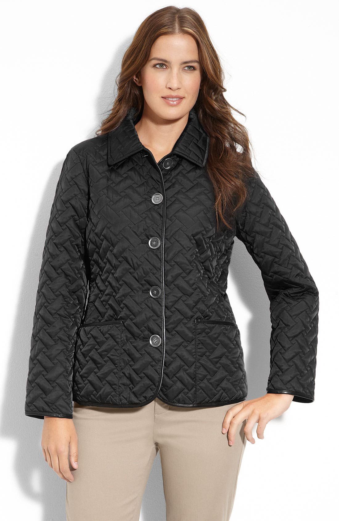 Alternate Image 1 Selected - Cole Haan Leather Trim Quilted Jacket (Petite)