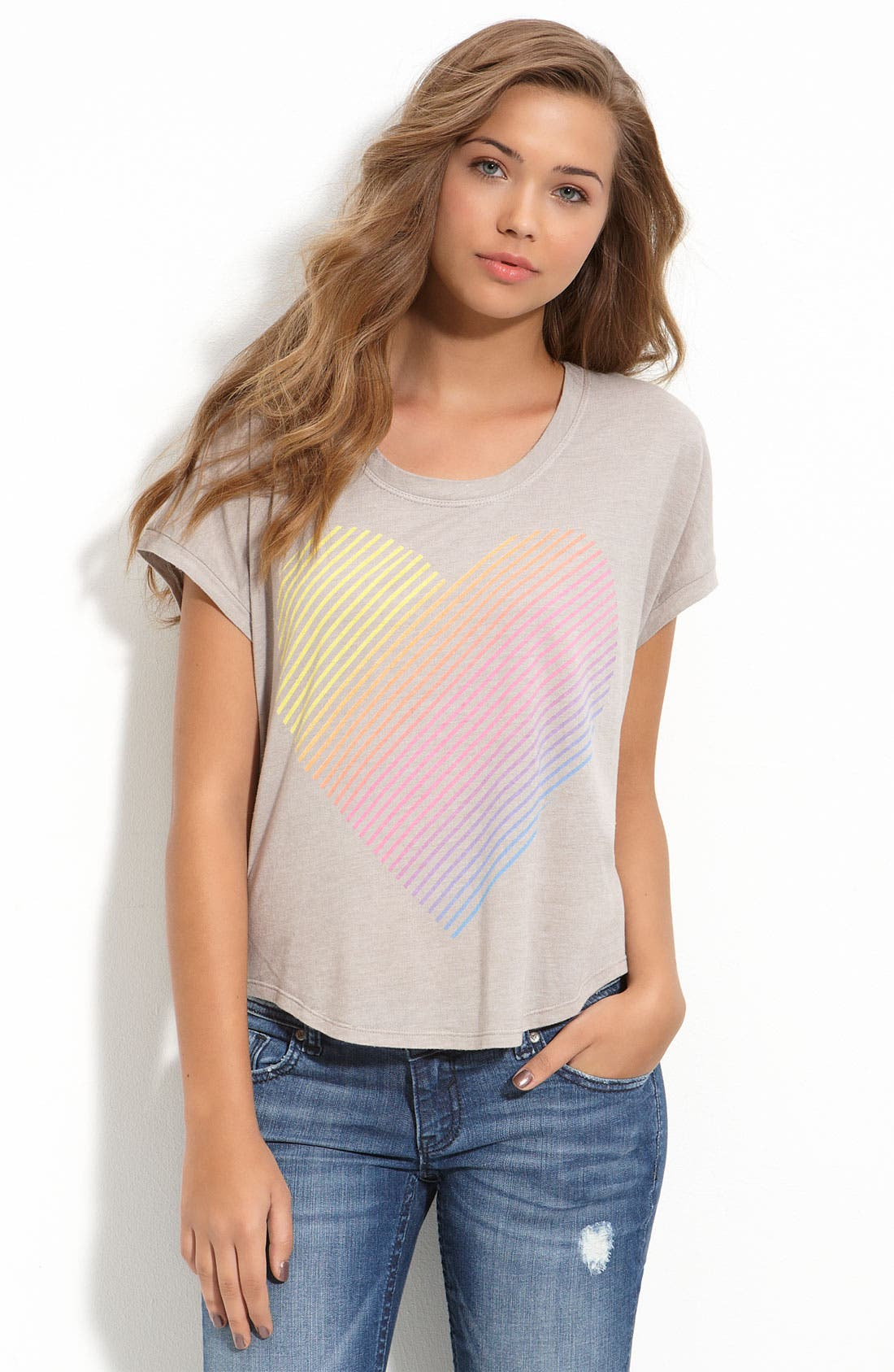 Main Image - The Beautiful Ones Boxy Rainbow Heart Tee (Juniors)
