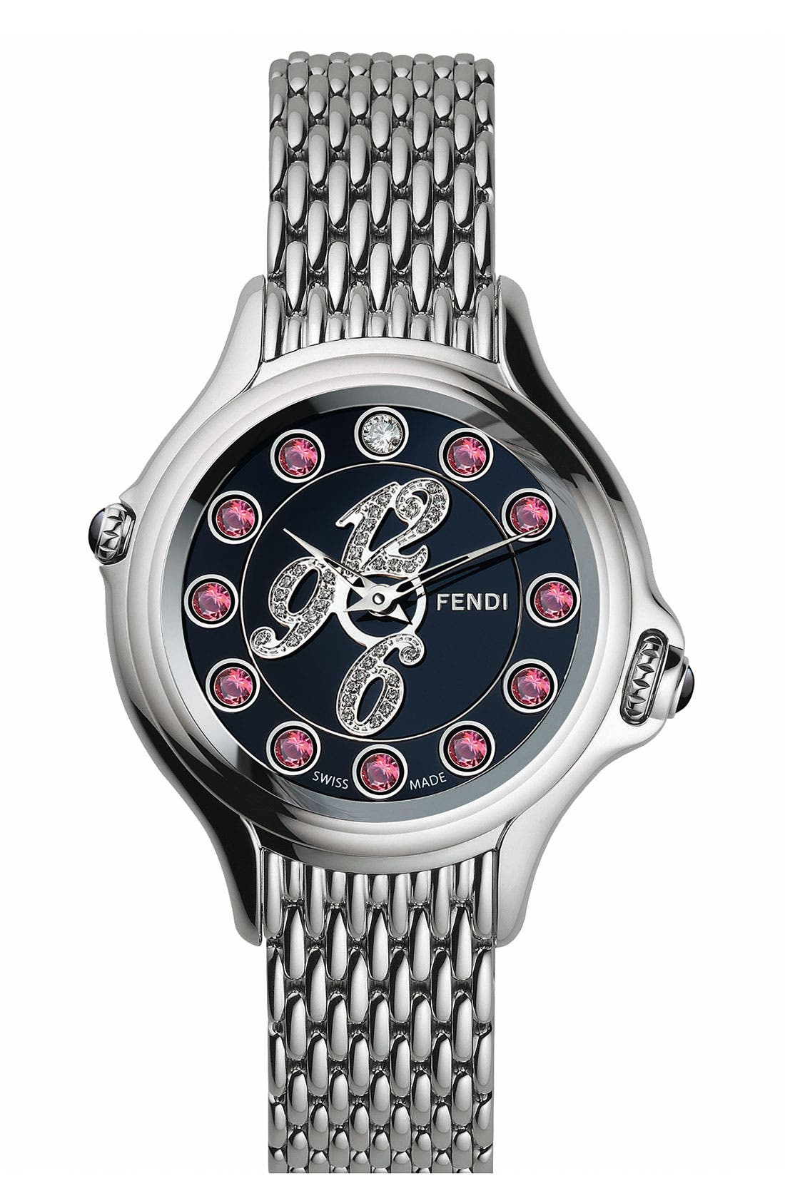 Alternate Image 3  - Fendi 'Crazy Carats' Black Dial Diamond Watch, 38mm