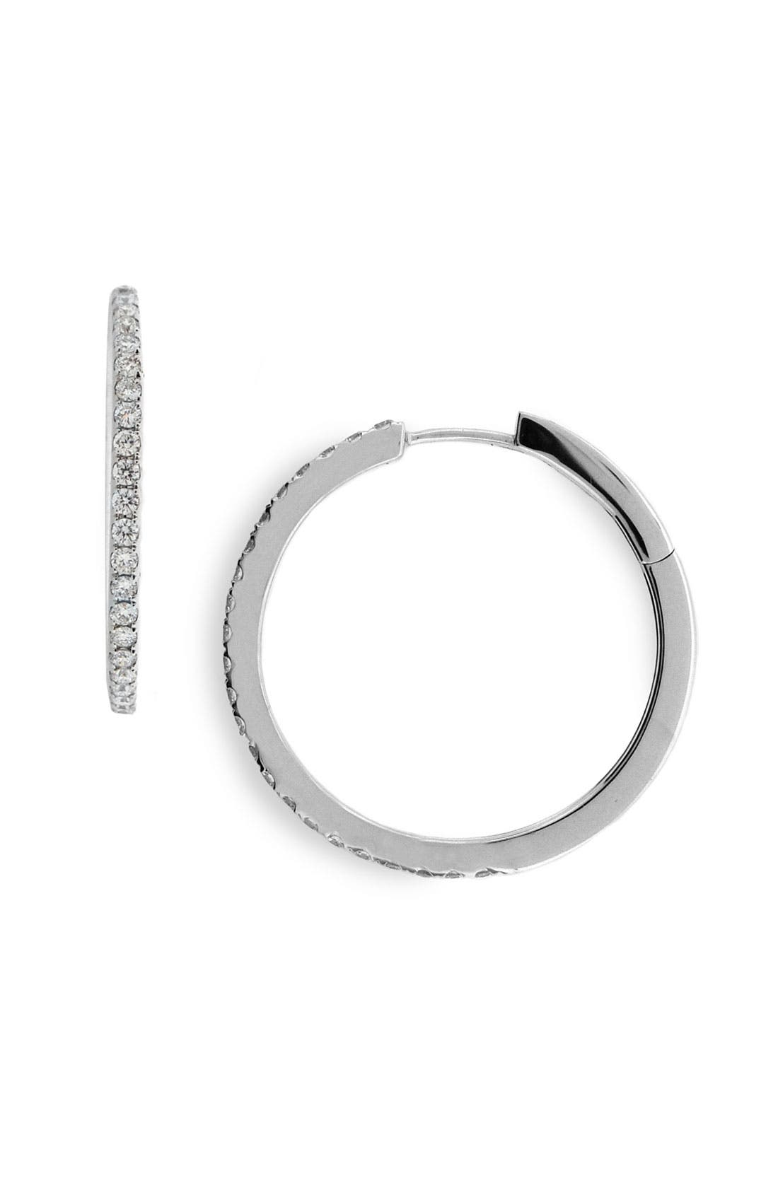 Main Image - Bony Levy 25mm Diamond Hoop Earrings (Nordstrom Exclusive)