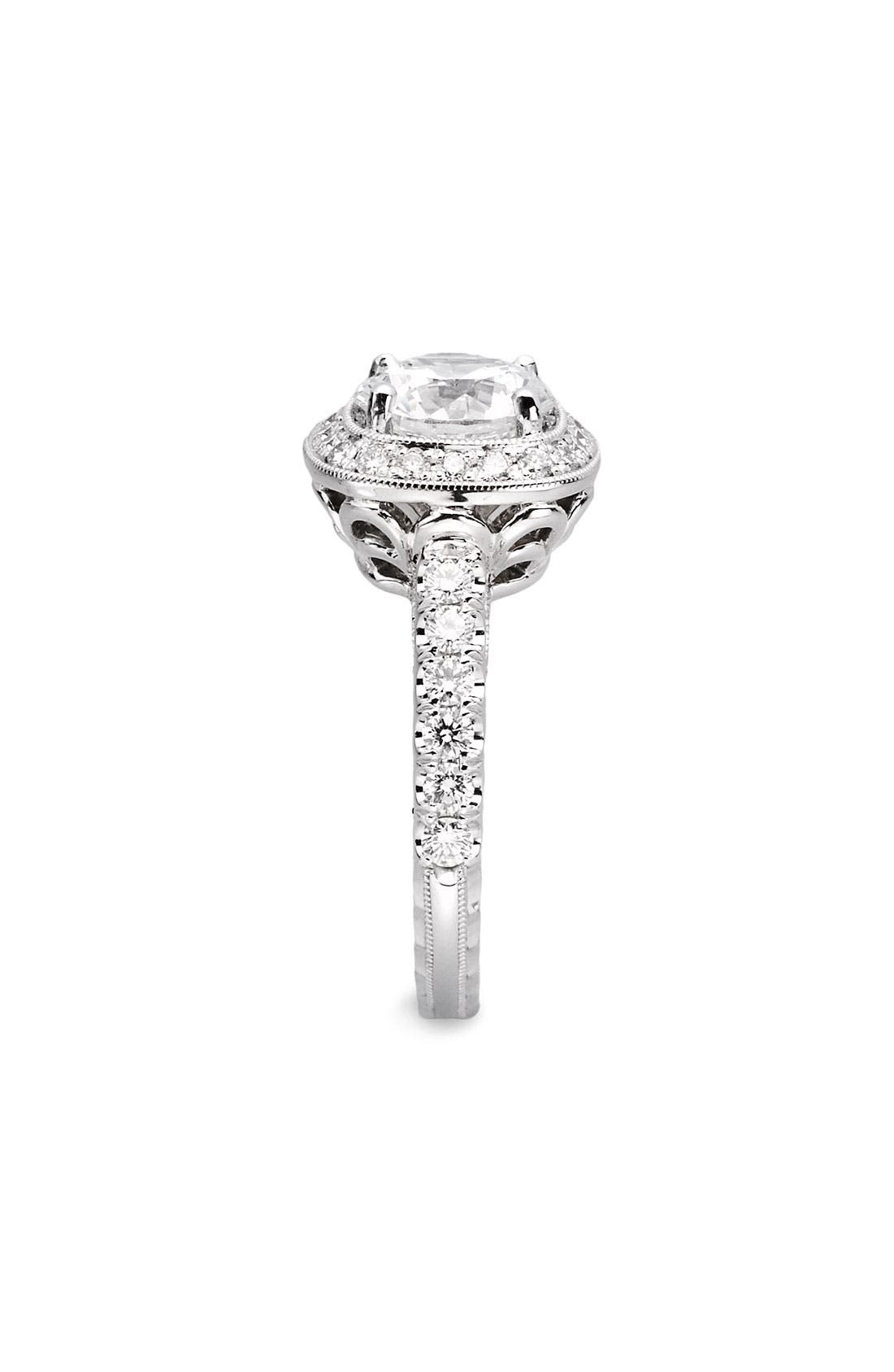 Alternate Image 2  - Jack Kelége 'Romance' Cushion Set Diamond Engagement Ring Setting