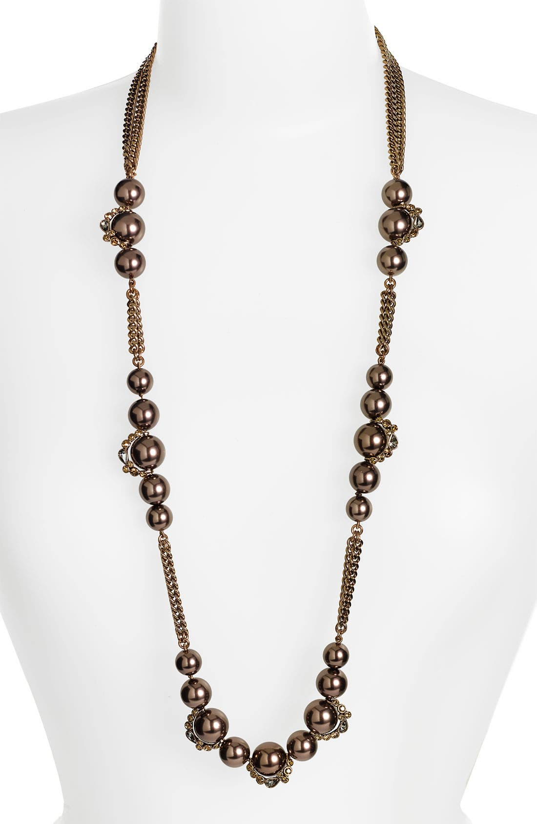 Alternate Image 1 Selected - Givenchy Long Multistrand Glass Pearl Necklace