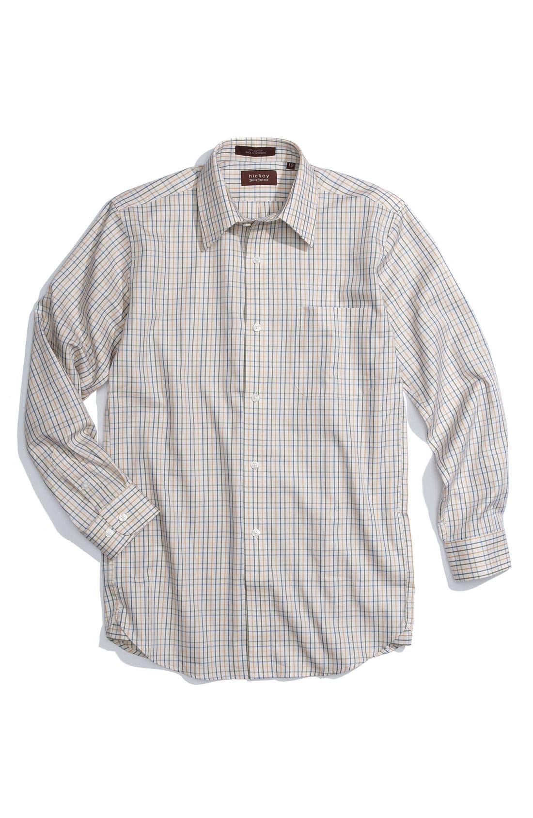 Main Image - Hickey Freeman Tattersall Sport Shirt (Big Boys)