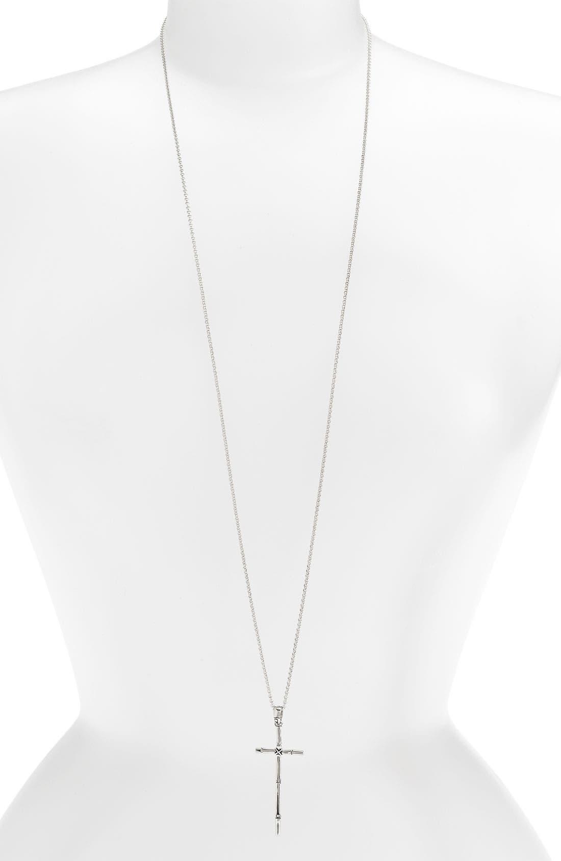 Alternate Image 1 Selected - John Hardy 'Bamboo' Long Cross Pendant Necklace