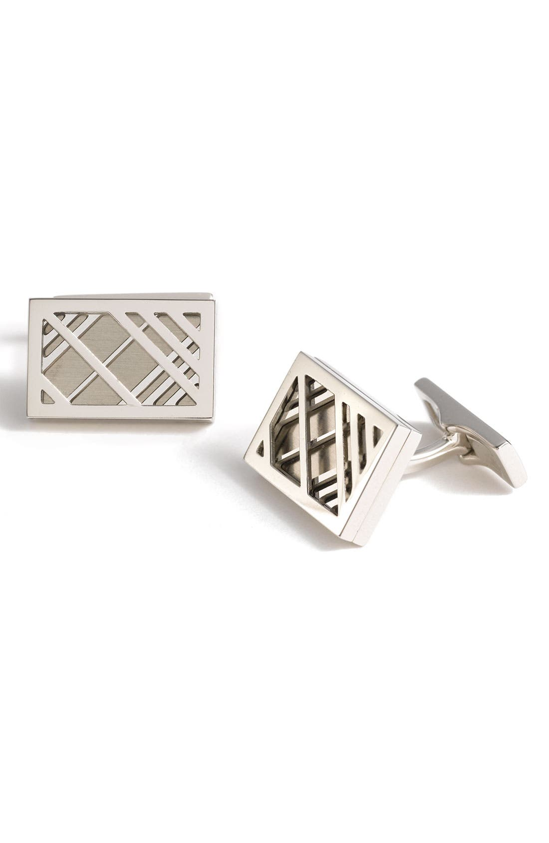 Main Image - Burberry Metal Check Cuff Links