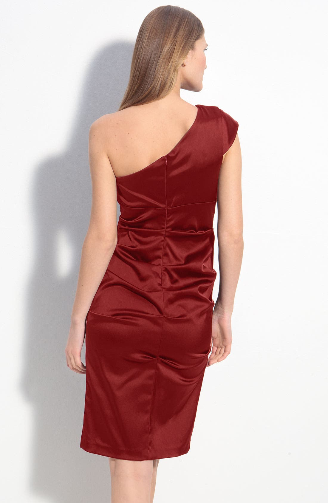 Alternate Image 2  - Xscape Ruched Satin One Shoulder Sheath Dress