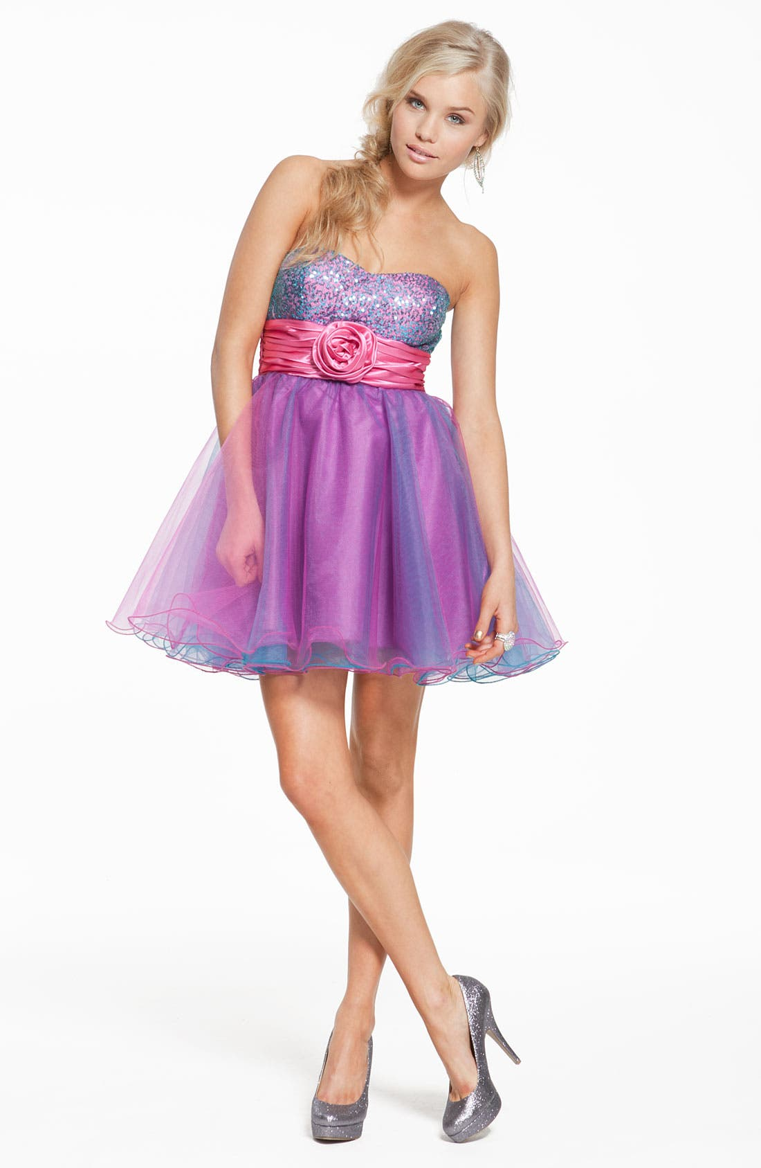 Alternate Image 4  - Accidentally In Love Strapless Sequin & Tulle Party Dress (Juniors)