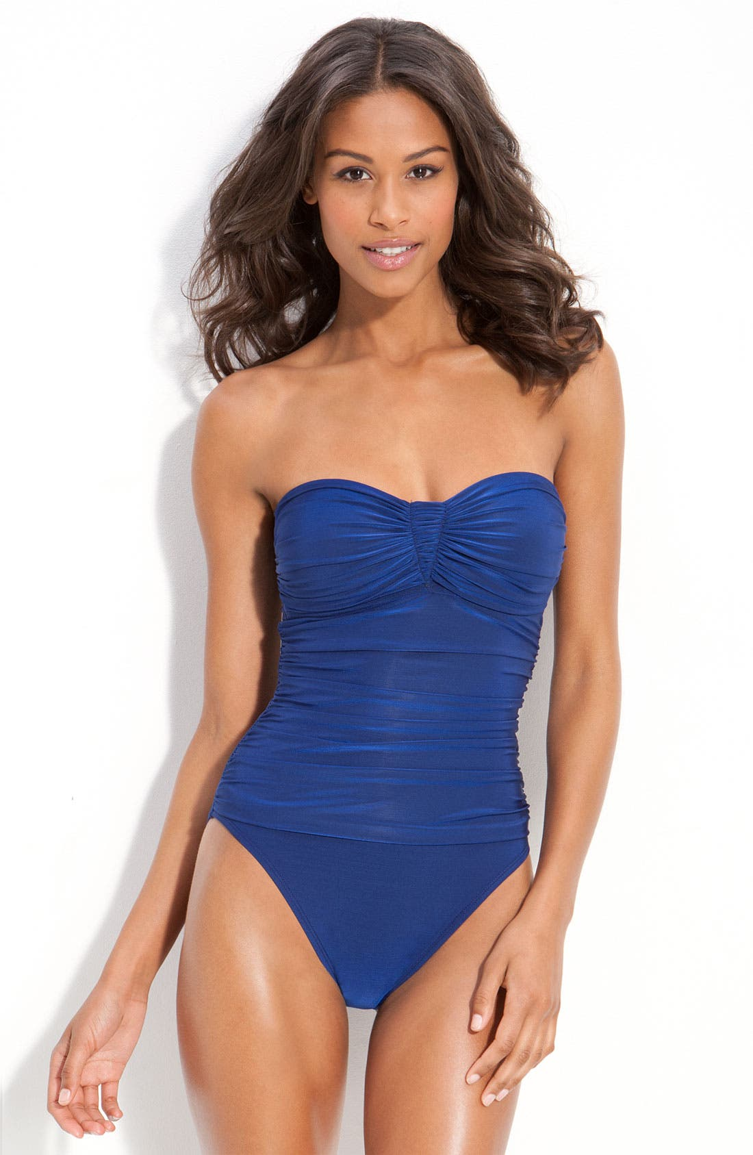 Main Image - La Blanca 'Glimmer Girl' Shirred One Piece Bandeau Swimsuit
