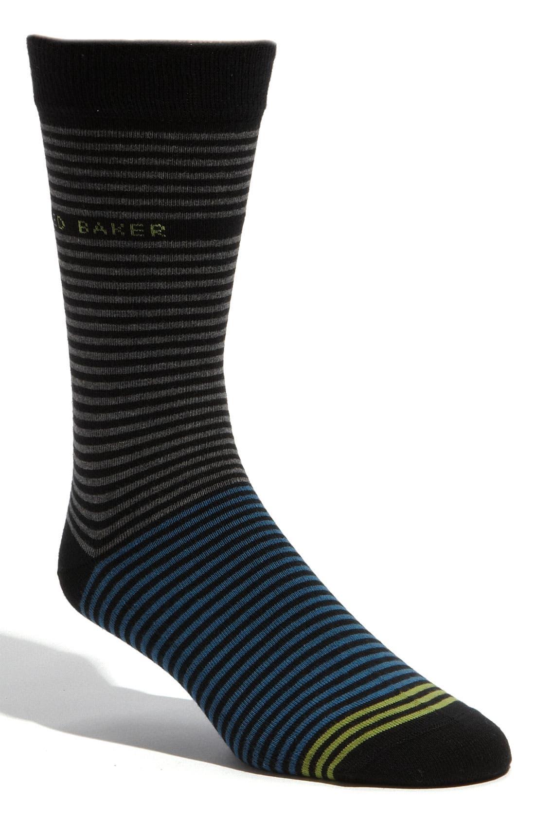 Main Image - Ted Baker London Two Tone Stripe Socks (3 for $40)