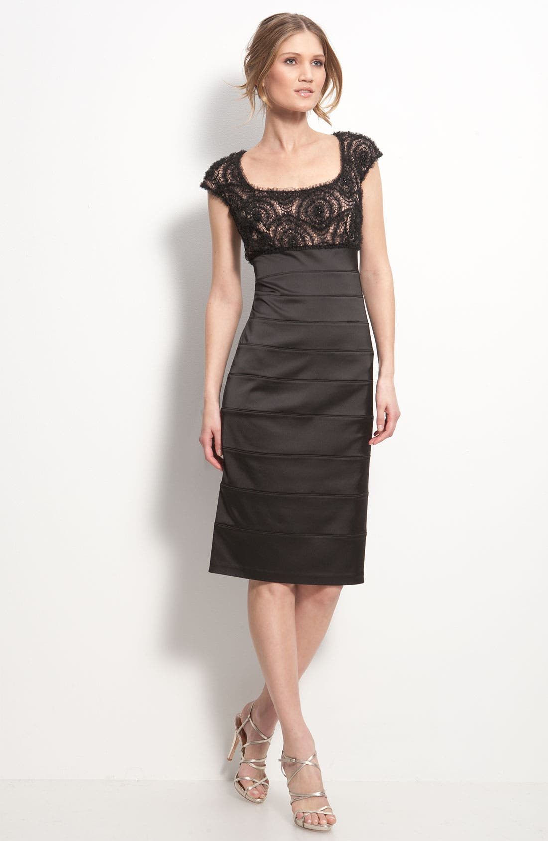 Main Image - T by Tadashi Tulle Overlay Satin Cocktail Dress (Petite)