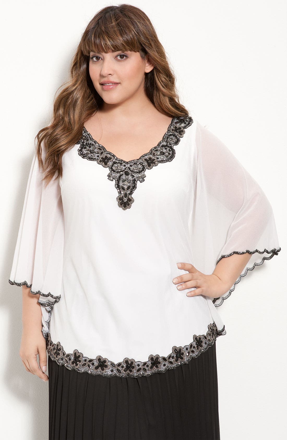 Main Image - J Kara Beaded Sheer Sleeve Top (Plus)