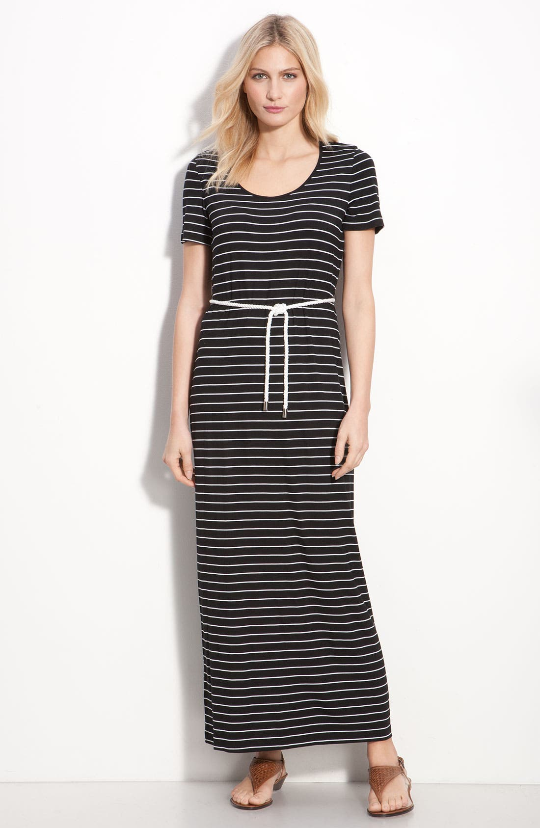 Main Image - Calvin Klein Stripe Cap Sleeve Maxi Dress