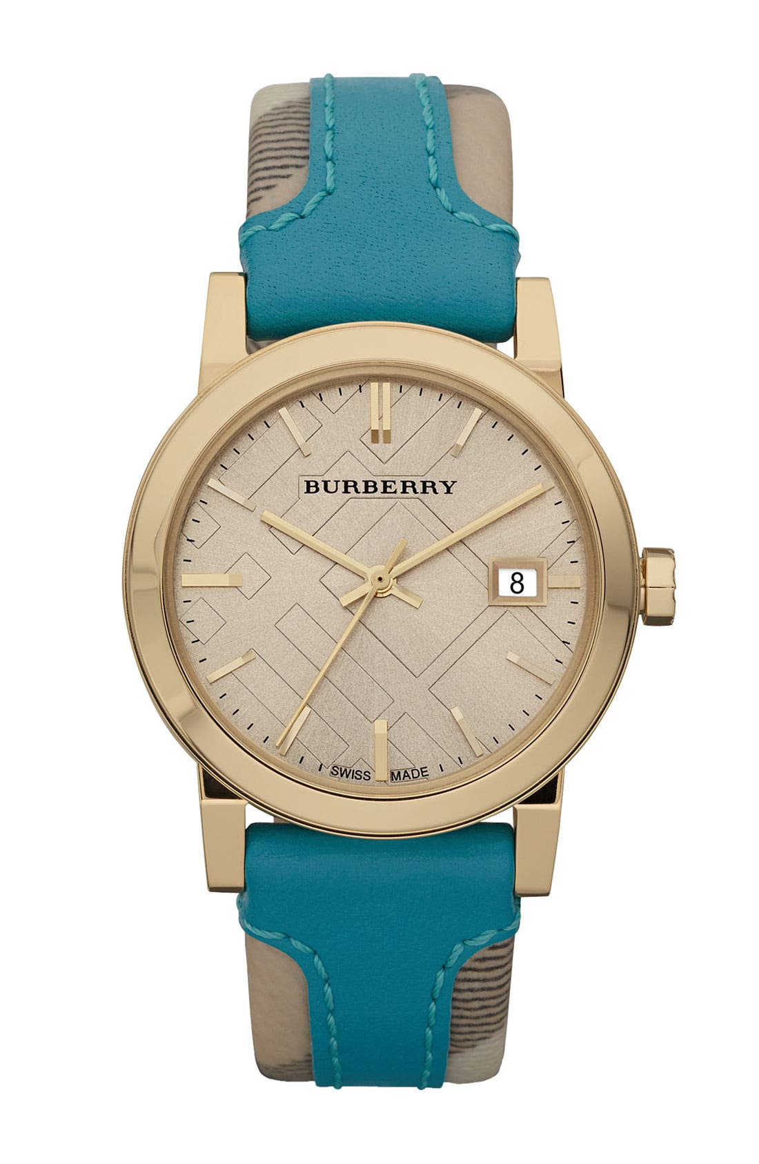 Main Image - Burberry Medium Stamped Leather Strap Watch
